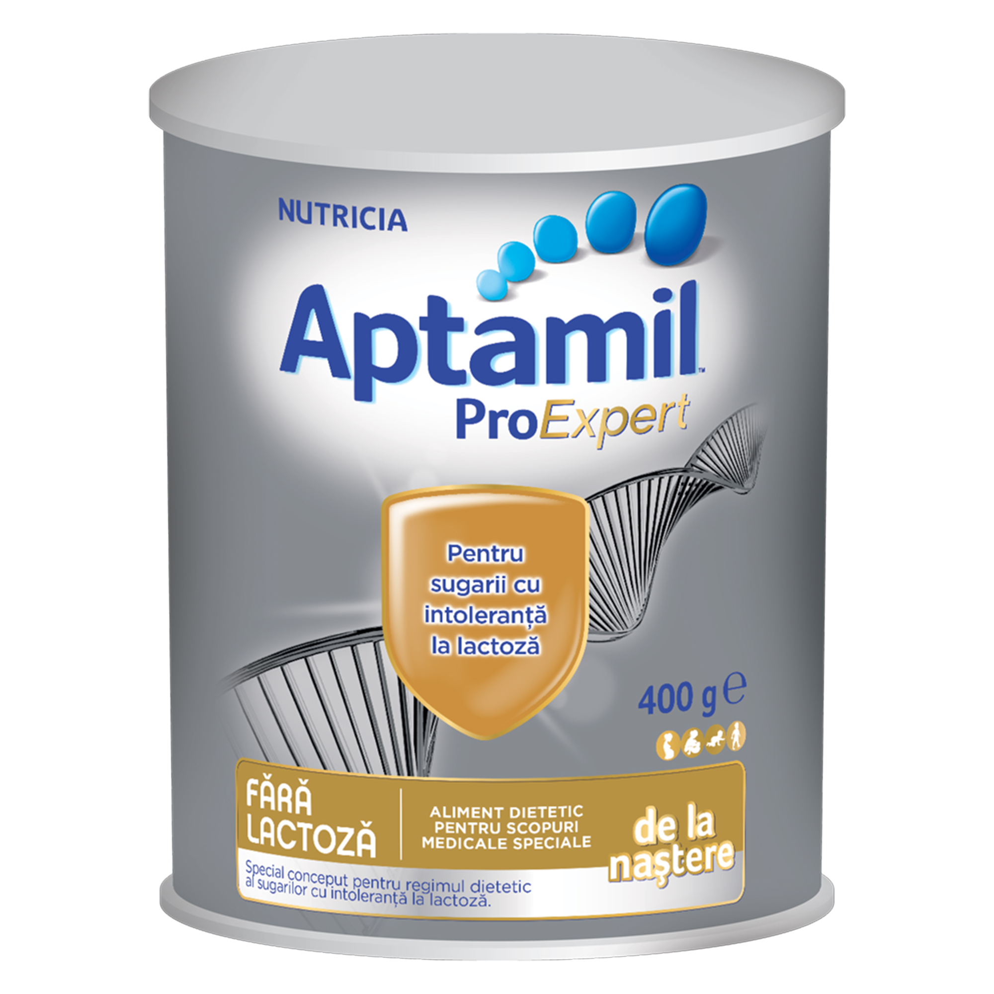 Lapte praf Nutricia, Aptamil fara lactoza, 400g, 0luni+