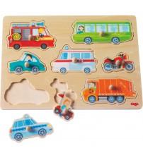 Joc tip puzzle 8 piese, Lumea vehiculelor, 12 luni+