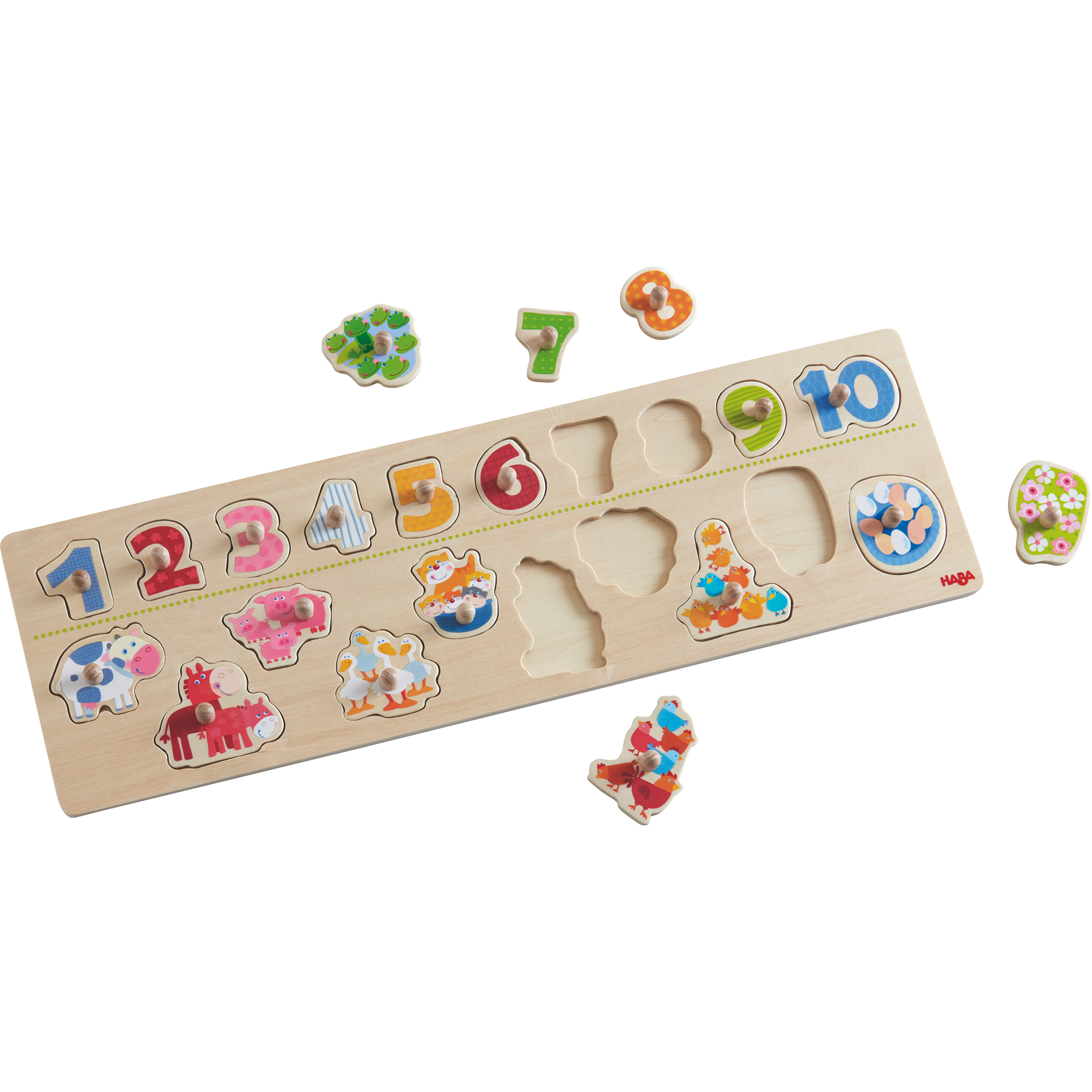 Joc tip puzzle, Haba, Animals by Numbers, 20 piese, 2ani+