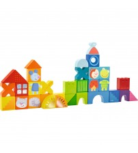 Blocuri de constructie, Haba, Pisica, soarecele si prietenii, 32 piese, 18luni+