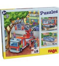 Puzzle Haba, Politia, pompierii si prietenii, 3ani+