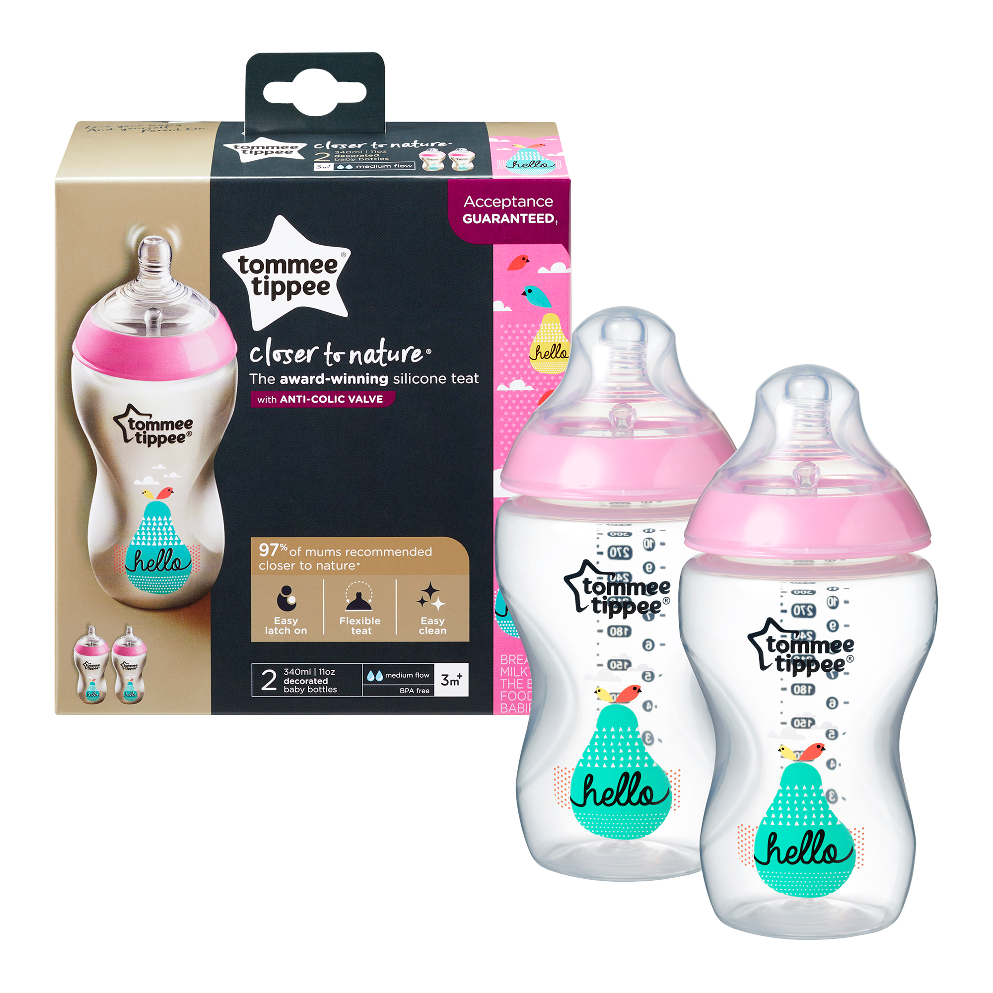 Set biberoane decorate Tommee Tippee, 340 ml, 2 buc, fete