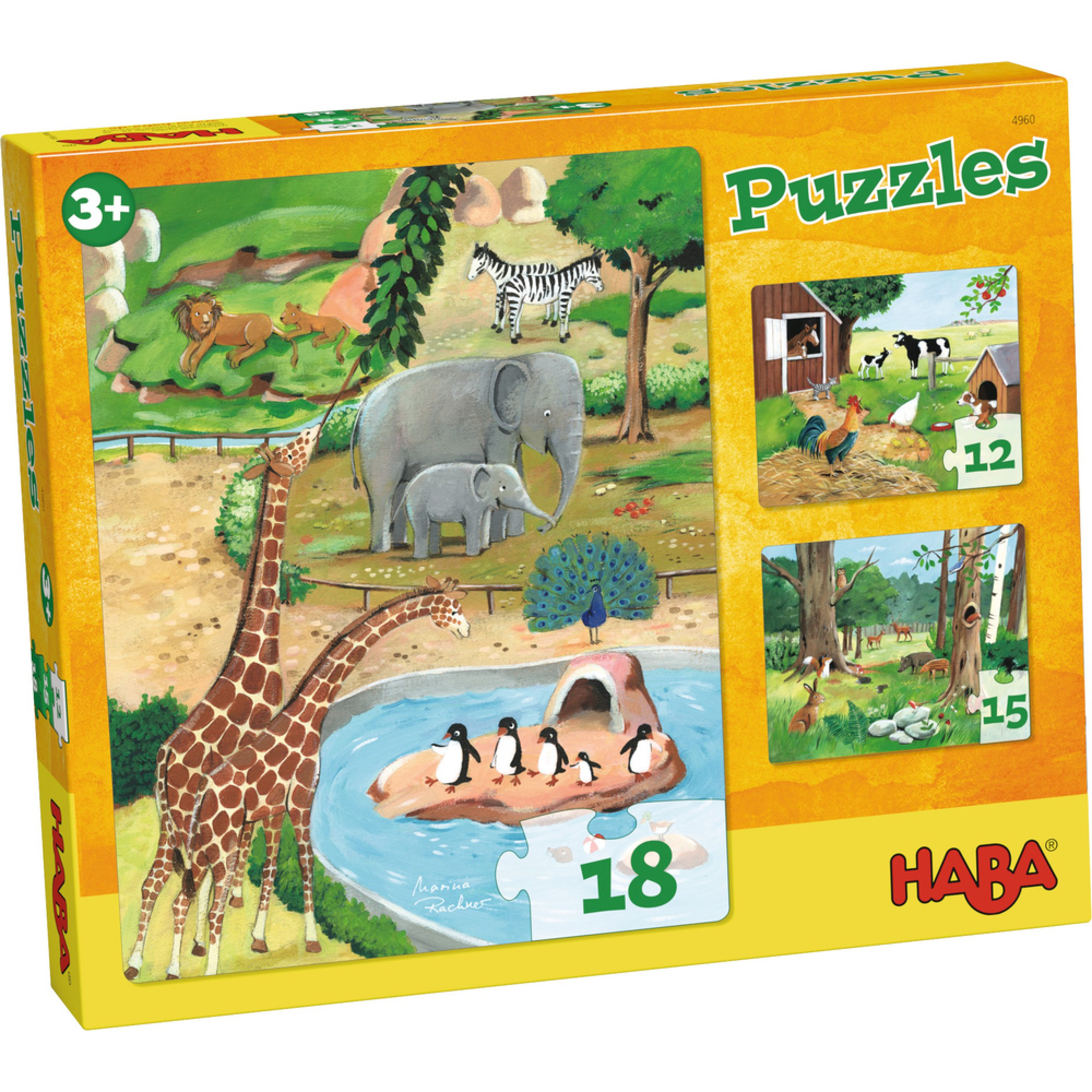 Puzzle cu animale, 3 modele, Haba, 3ani+