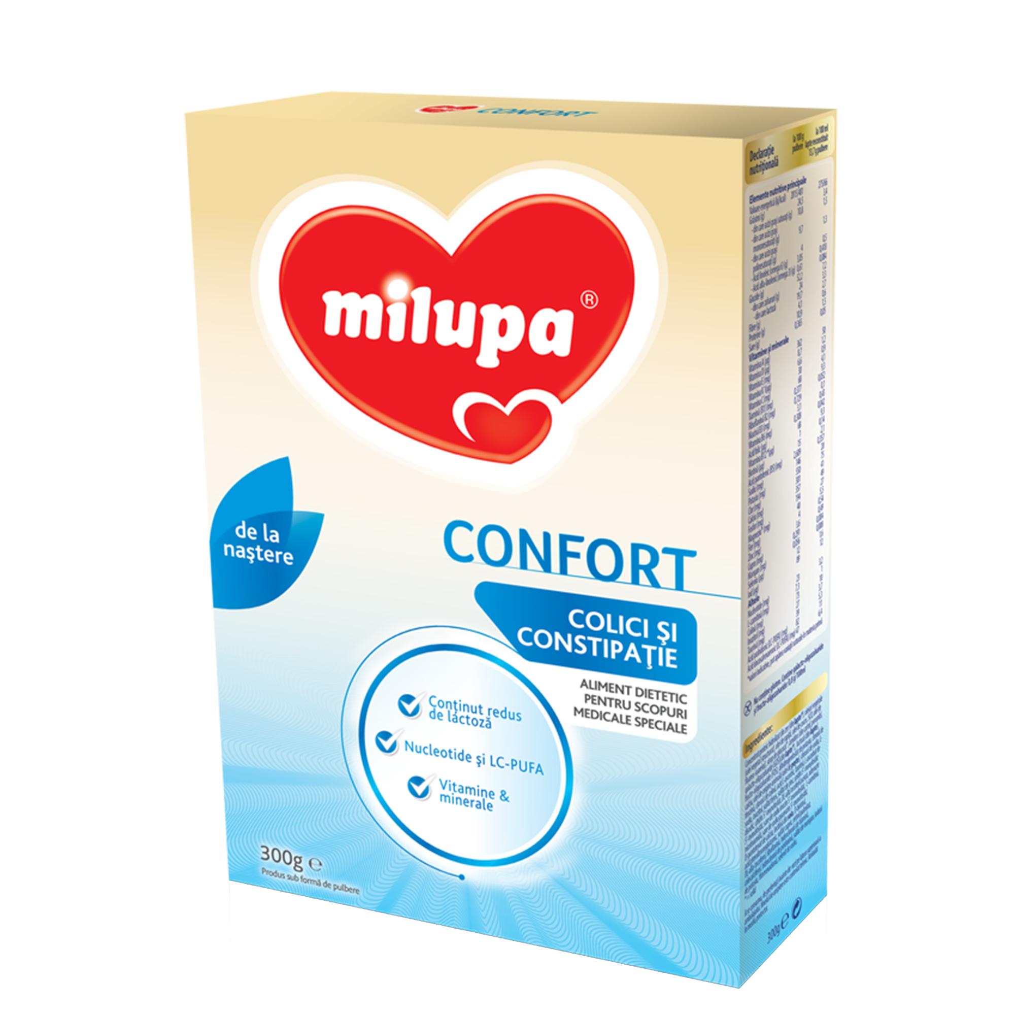Lapte praf Milumil Confort, colici si constipatie, 300g, 0luni+