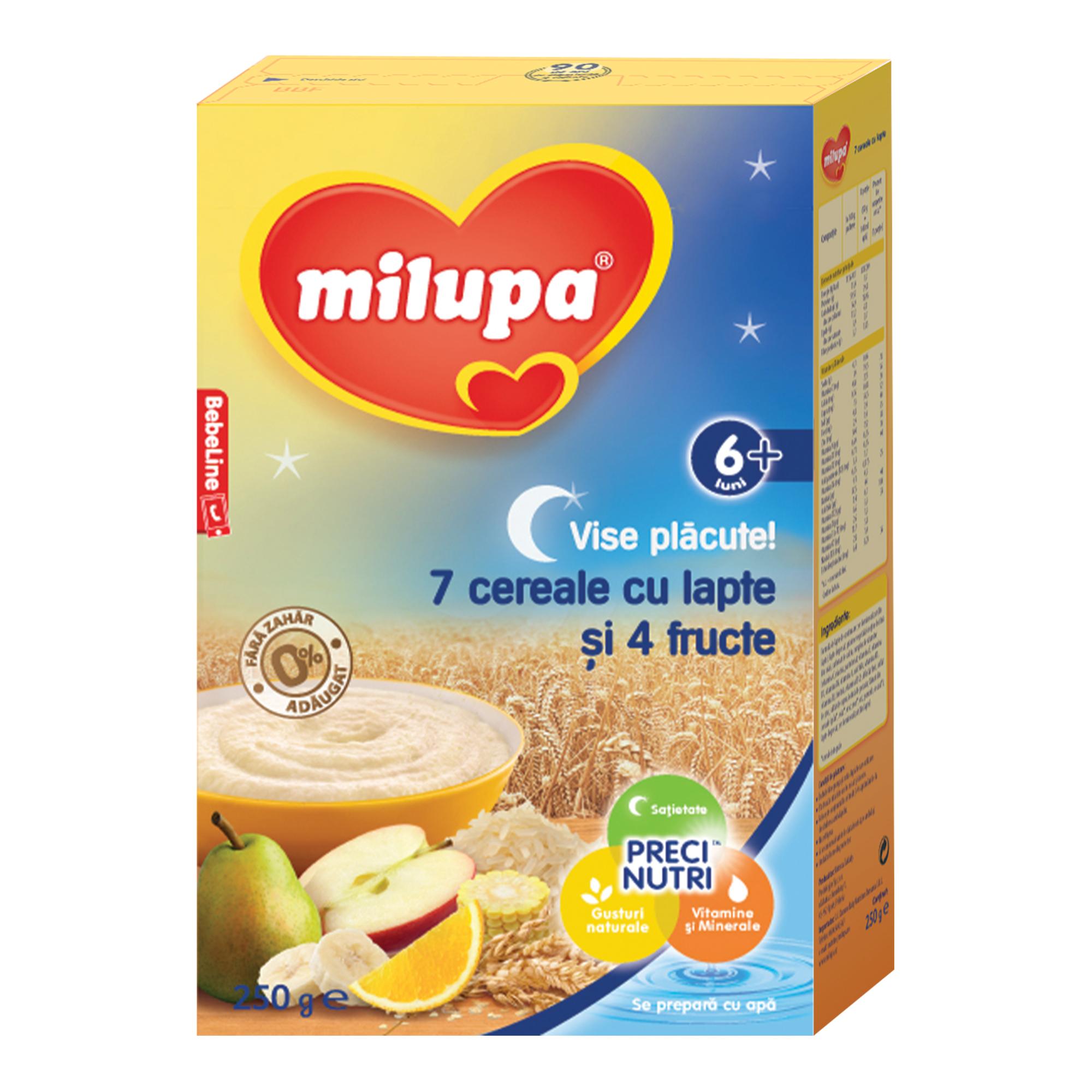 Cereale cu lapte Milupa, Vise Placute 7 cereale cu lapte si 4 fructe, 250g, 6luni+