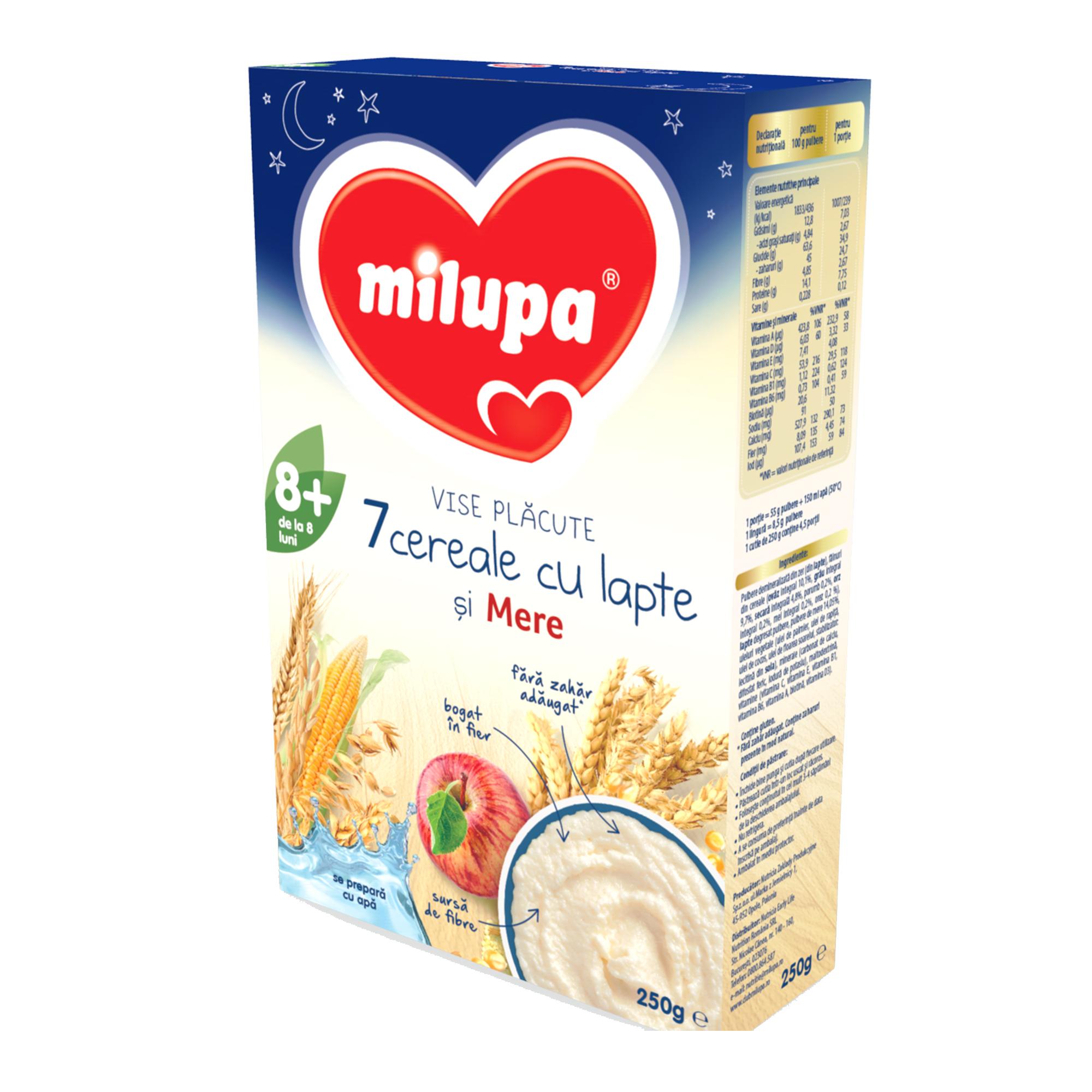 Cereale cu lapte Milupa, Vise Placute 7 Cereale cu lapte si mere, 250g, 8luni+