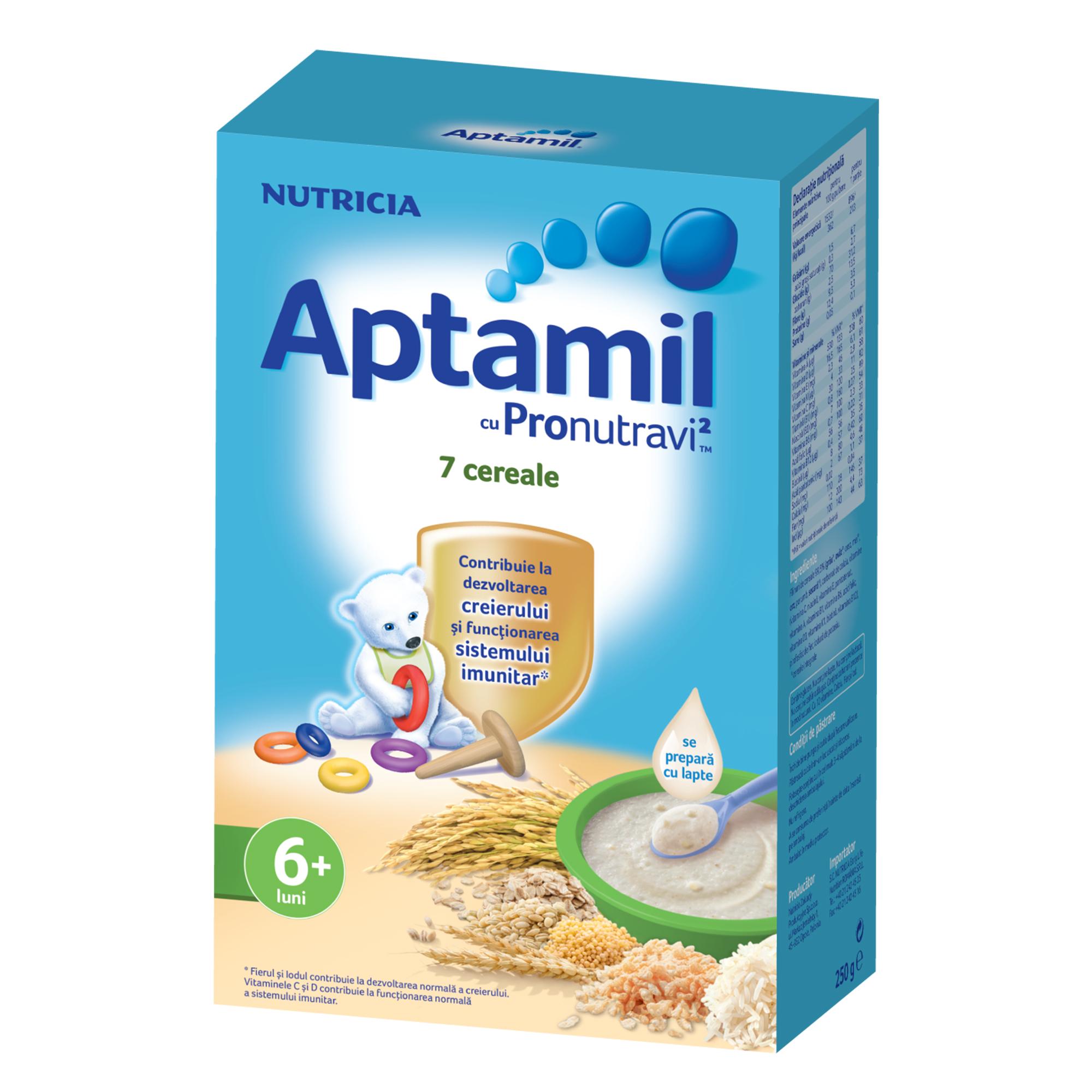 Cereale fara lapte Nutricia, Aptamil 7 Cereale, 250g, 6luni+