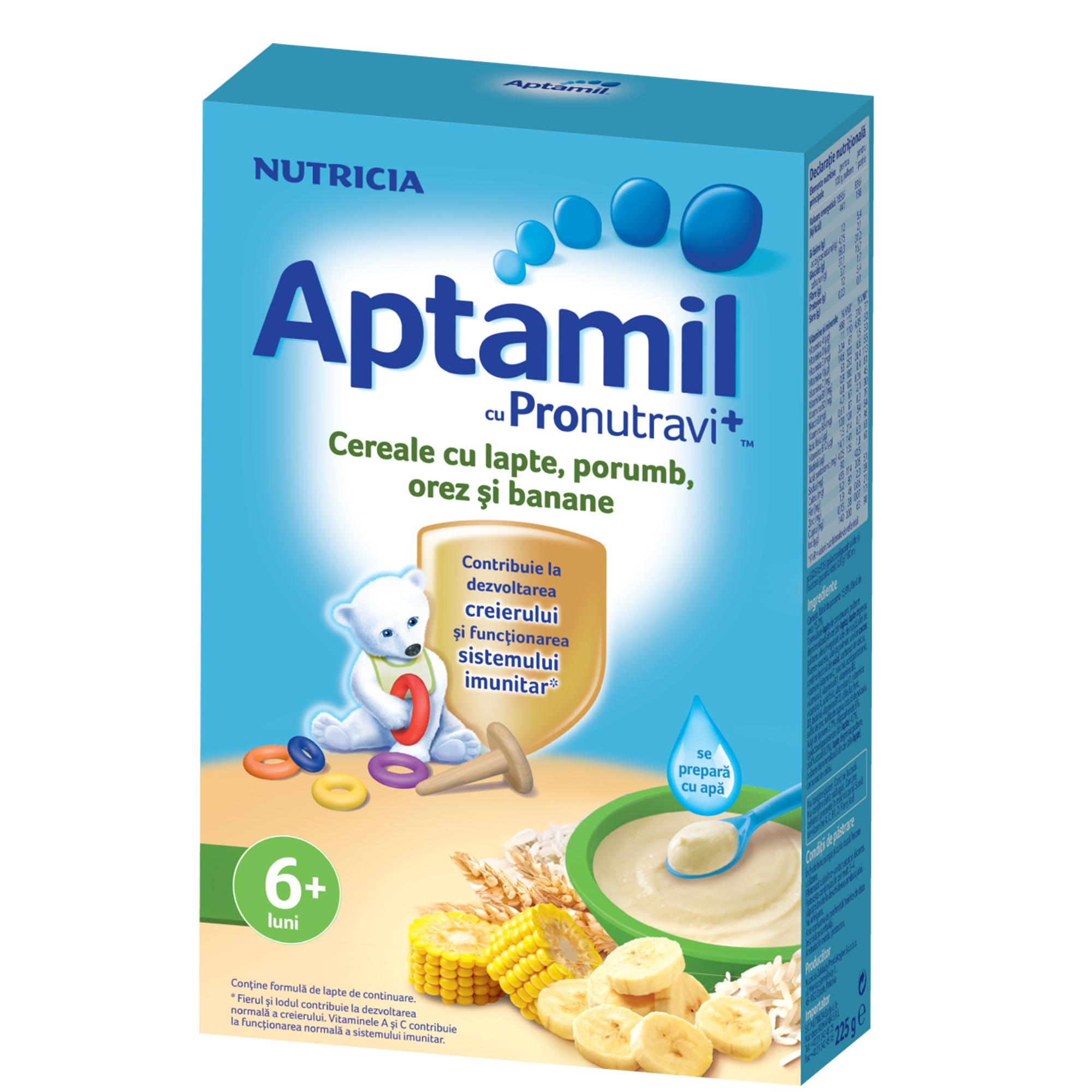 Cereale cu lapte Nutricia, Aptamil Porumb, orez si banane, 225g, 6luni+