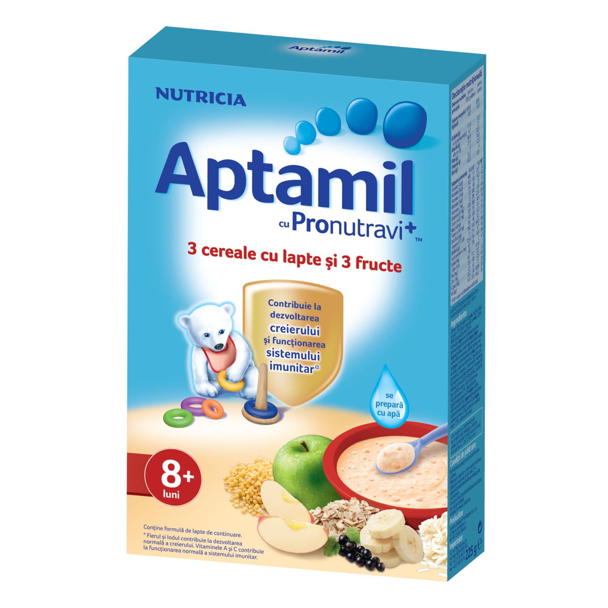 Cereale cu lapte Nutricia, Aptamil, 3 cereale si 3 fructe, 225g, 8luni+