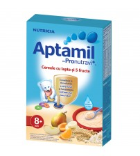 Cereale cu lapte si 5 fructe Aptamil, Nutricia, 225g, 8luni+