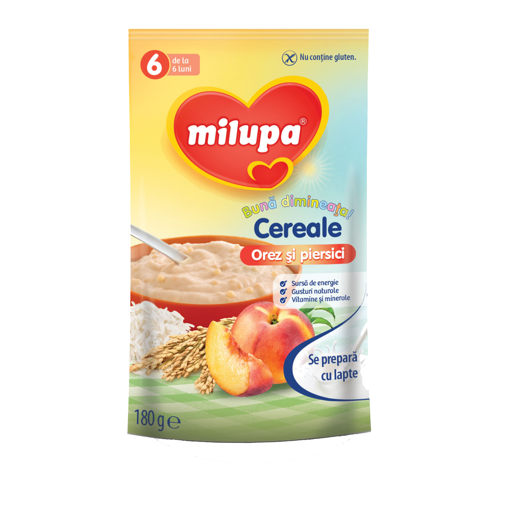 Cereale fara lapte, Milupa,Buna dimineata cereale orez si piersici, 180g, 6luni+