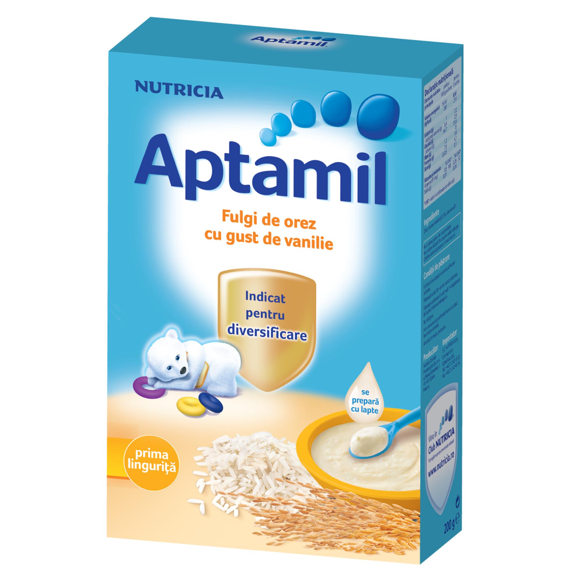 Cereale fara lapte Nutricia, Aptamil Fulgi de orez cu gust de vanilie, 200g, 4luni+