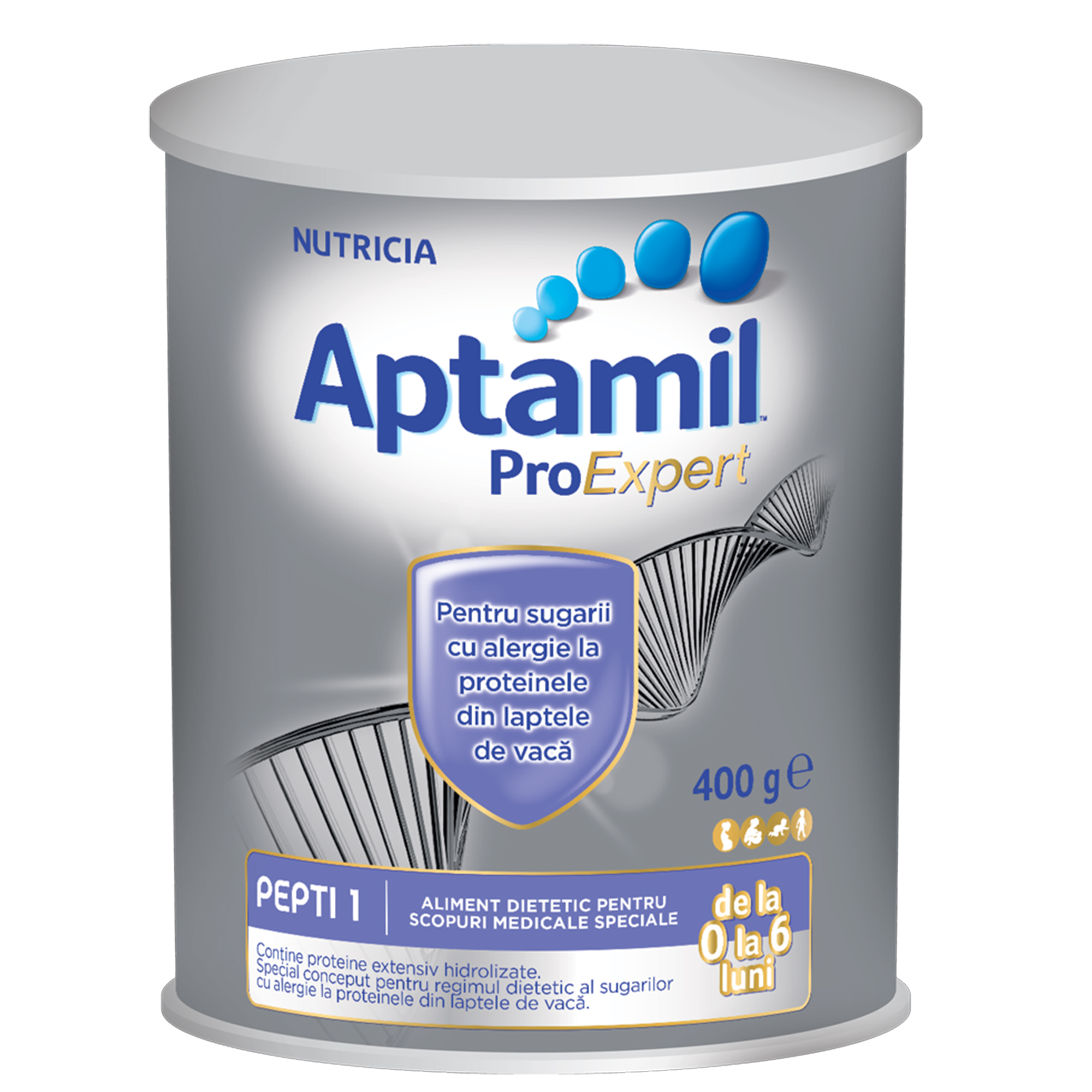 Lapte praf Nutricia pentru alergii si intolerante usoare, Aptamil Pepti 1 LCP, 400g, 0luni+