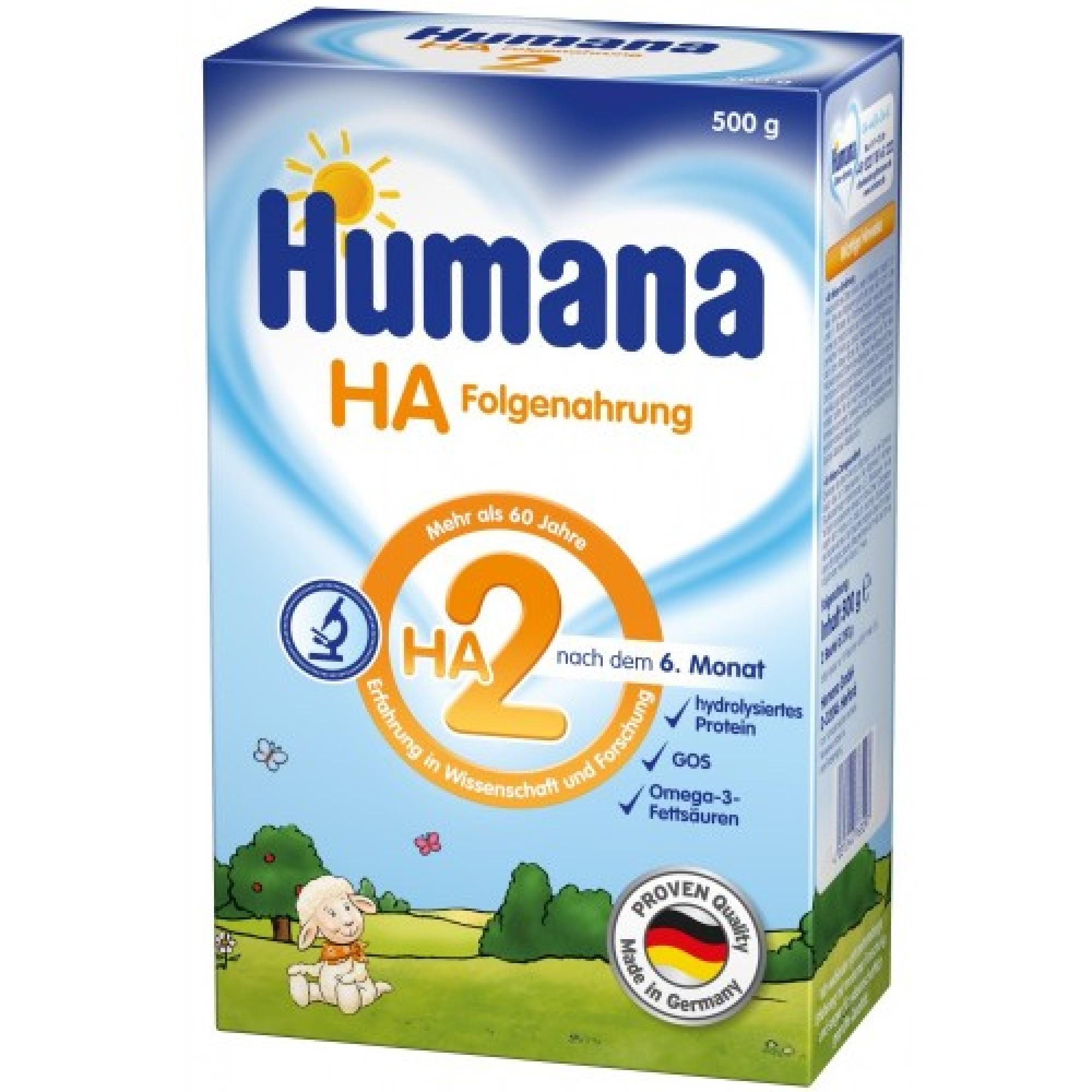 Lapte praf hipoalergenic, Humana HA 2 500 g, 6 luni+