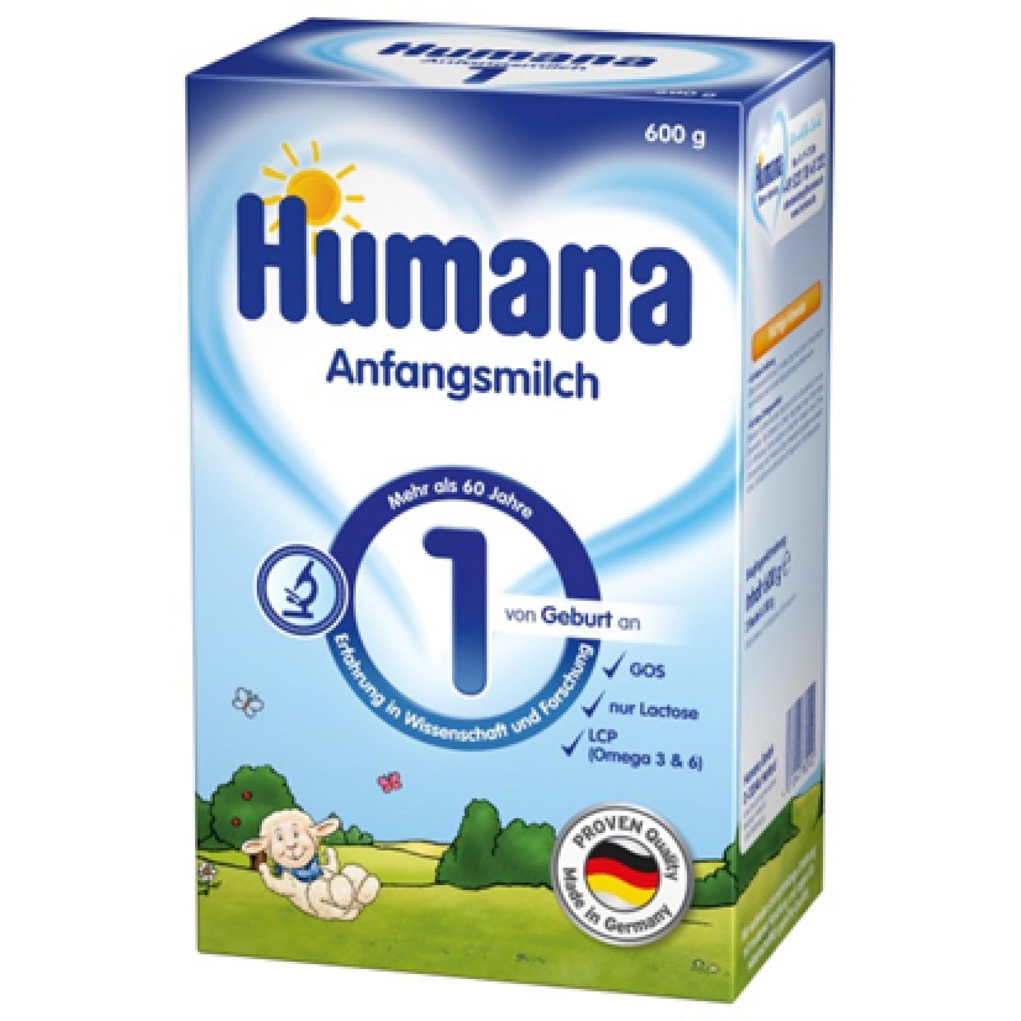 Lapte praf, Humana 1 GOS, 600 g, de la nastere