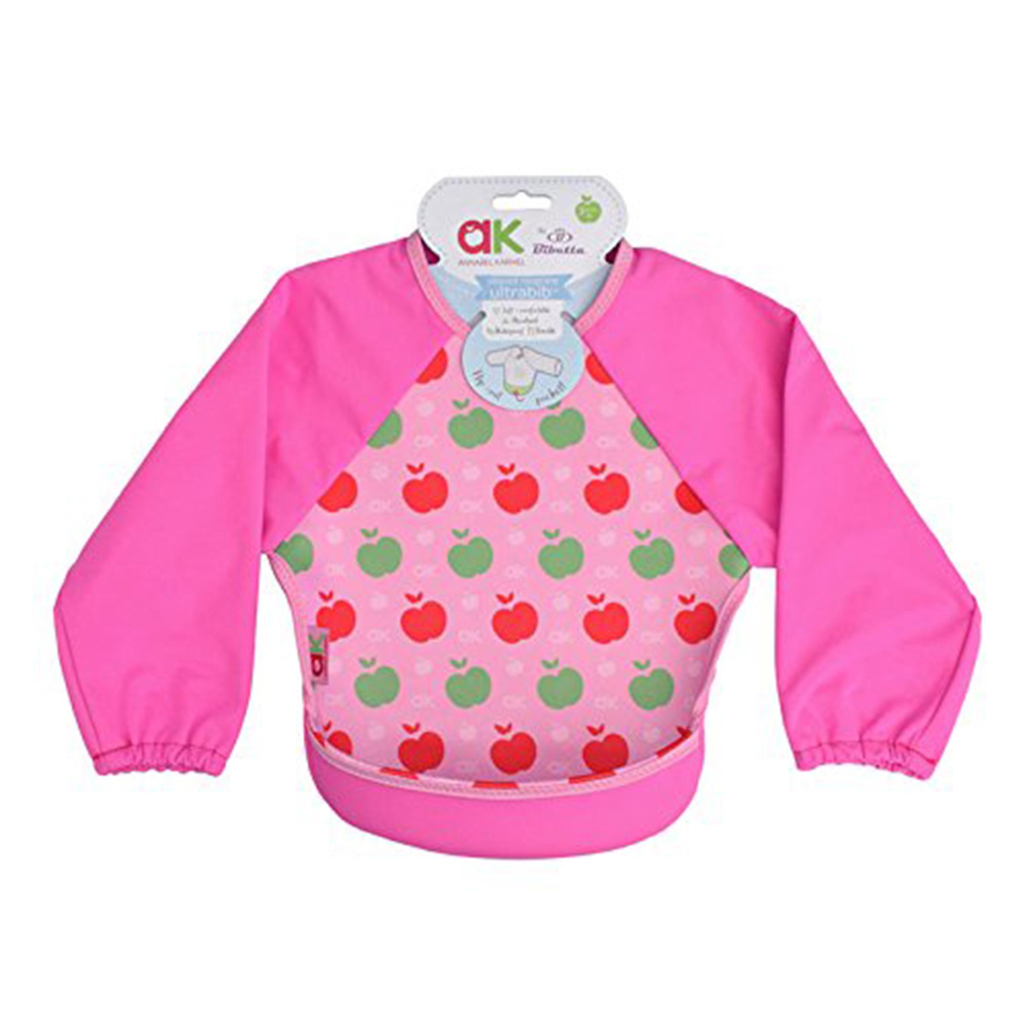 Baveta cu maneci Ultrabib, Annabel Karmel, Pink apples, 1 buc, 6 luni+