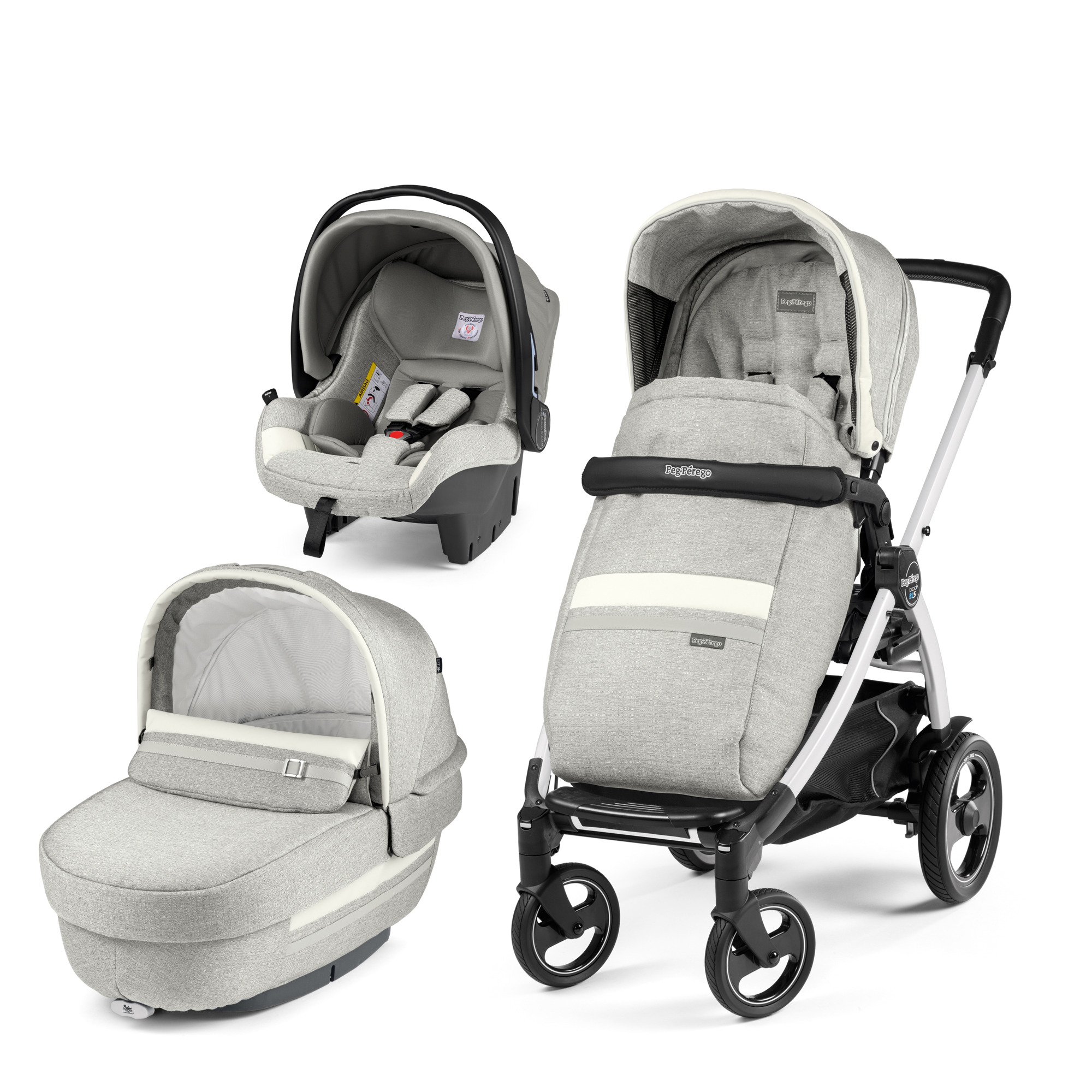 Carucior 3 In 1, Peg Perego, Book Plus 51 S, Titania White, Luxe