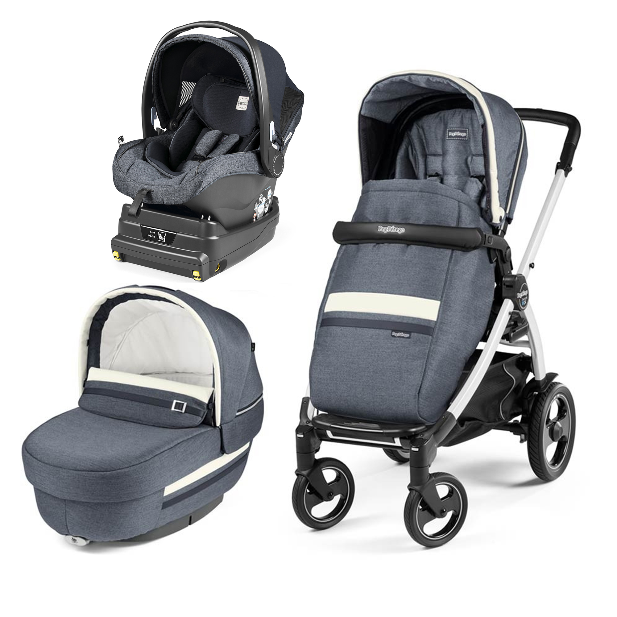 Carucior 3 In 1, Peg Perego, Book Plus 51 S, Titania White, i-Size, Luxe