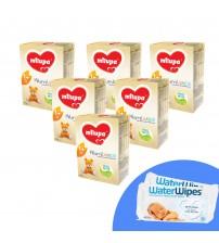 Pachet 6 x Lapte praf Milupa Milumil Junior 1+, 600g, 12luni+ si 2 x Servetele umede pentru bebelusi, WaterWipes, 60 buc