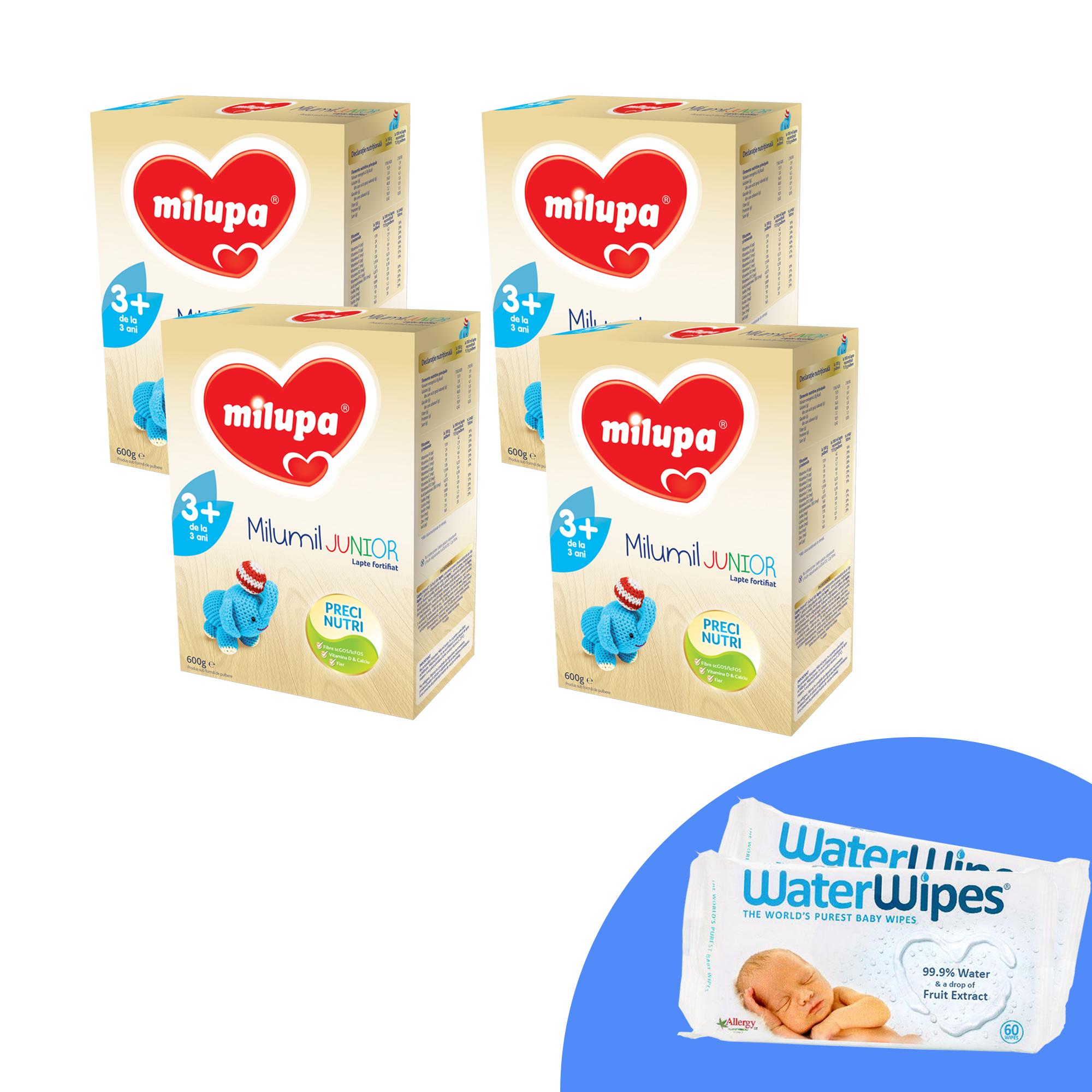 Pachet 4 x Lapte praf Milupa Milumil Junior 3+, 600g, 3ani+ si 2 x Servetele umede pentru bebelusi, WaterWipes, 60 buc