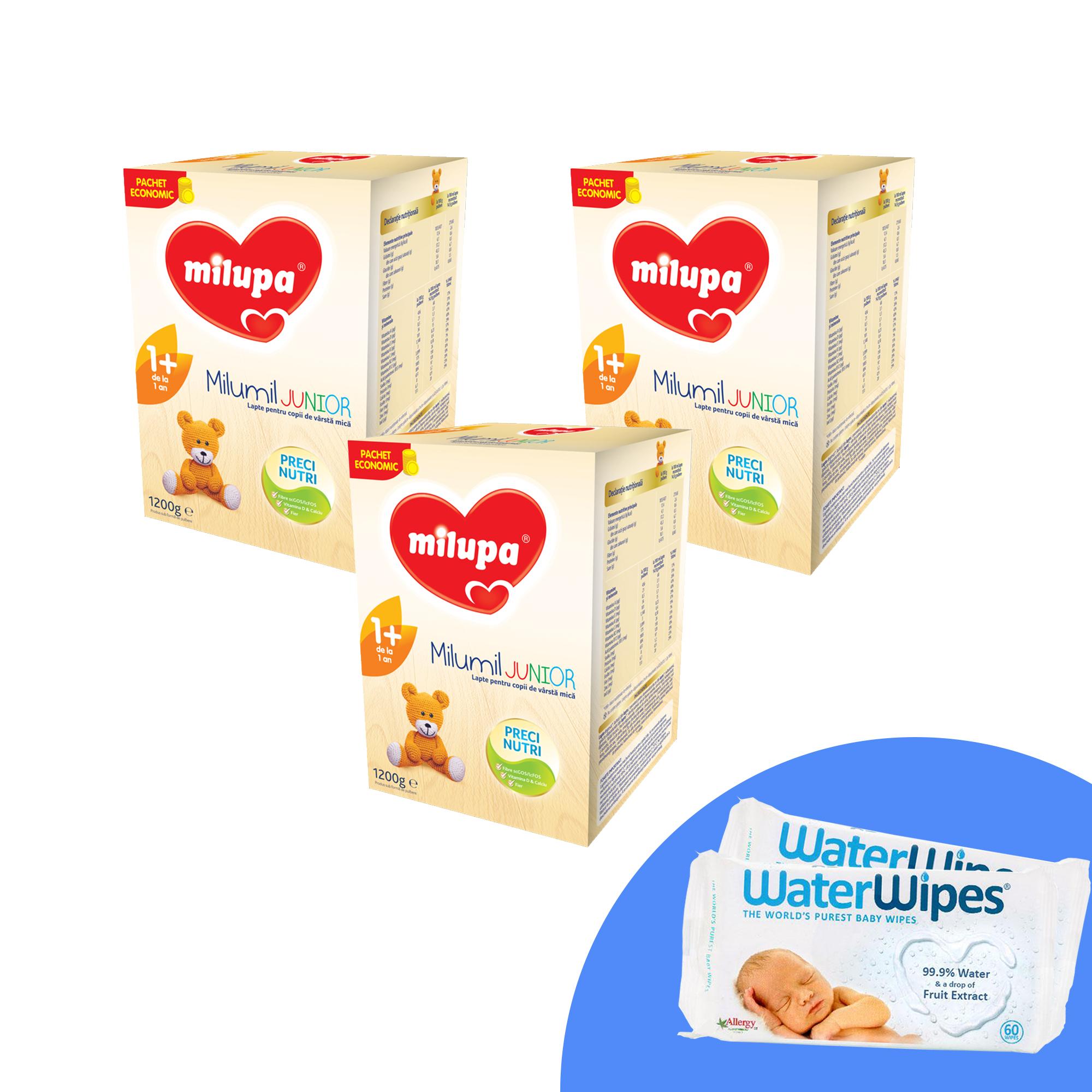 Pachet 3 buc x  Lapte praf Milupa Milumil Junior 1+, 1200g, 12luni+ si 2 x Servetele umede pentru bebelusi, WaterWipes, 60 buc