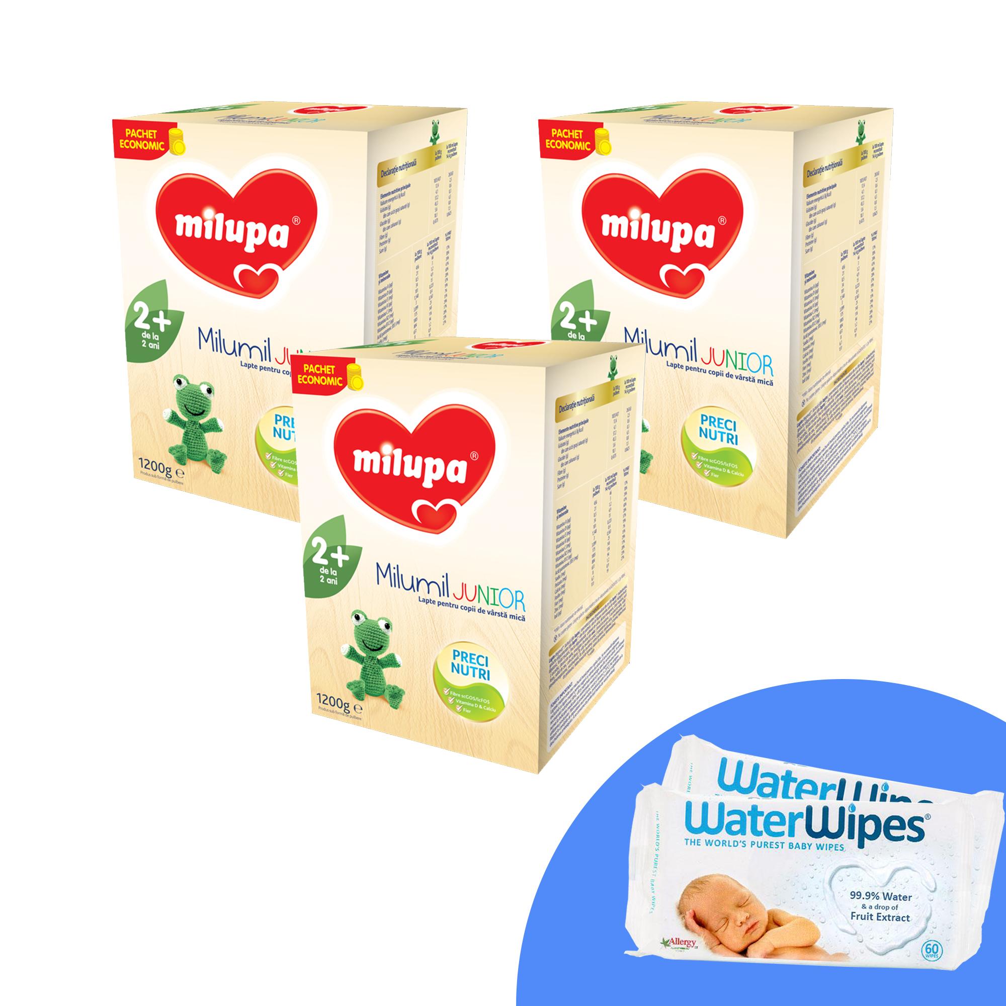 Pachet 3 x Lapte praf Milupa Milumil Junior 2+, 1200g, 2ani+ si 2 x Servetele umede pentru bebelusi, WaterWipes, 60 buc