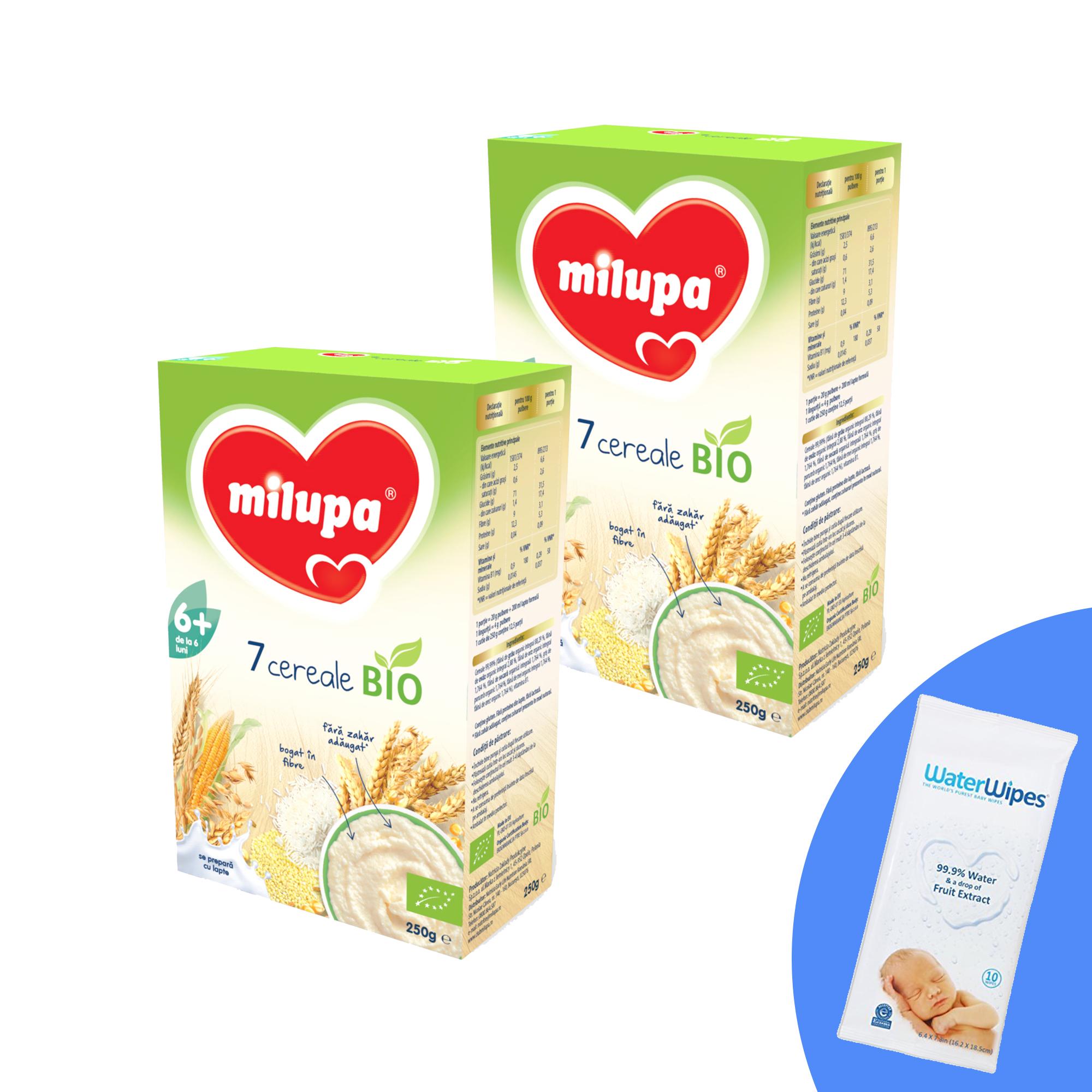 Pachet 2 buc x Cereale BIO fara lapte Milupa, 7 Cereale, 250g, 6luni+ si 1 x Servetele umede pentru bebelusi, WaterWipes, 10 buc