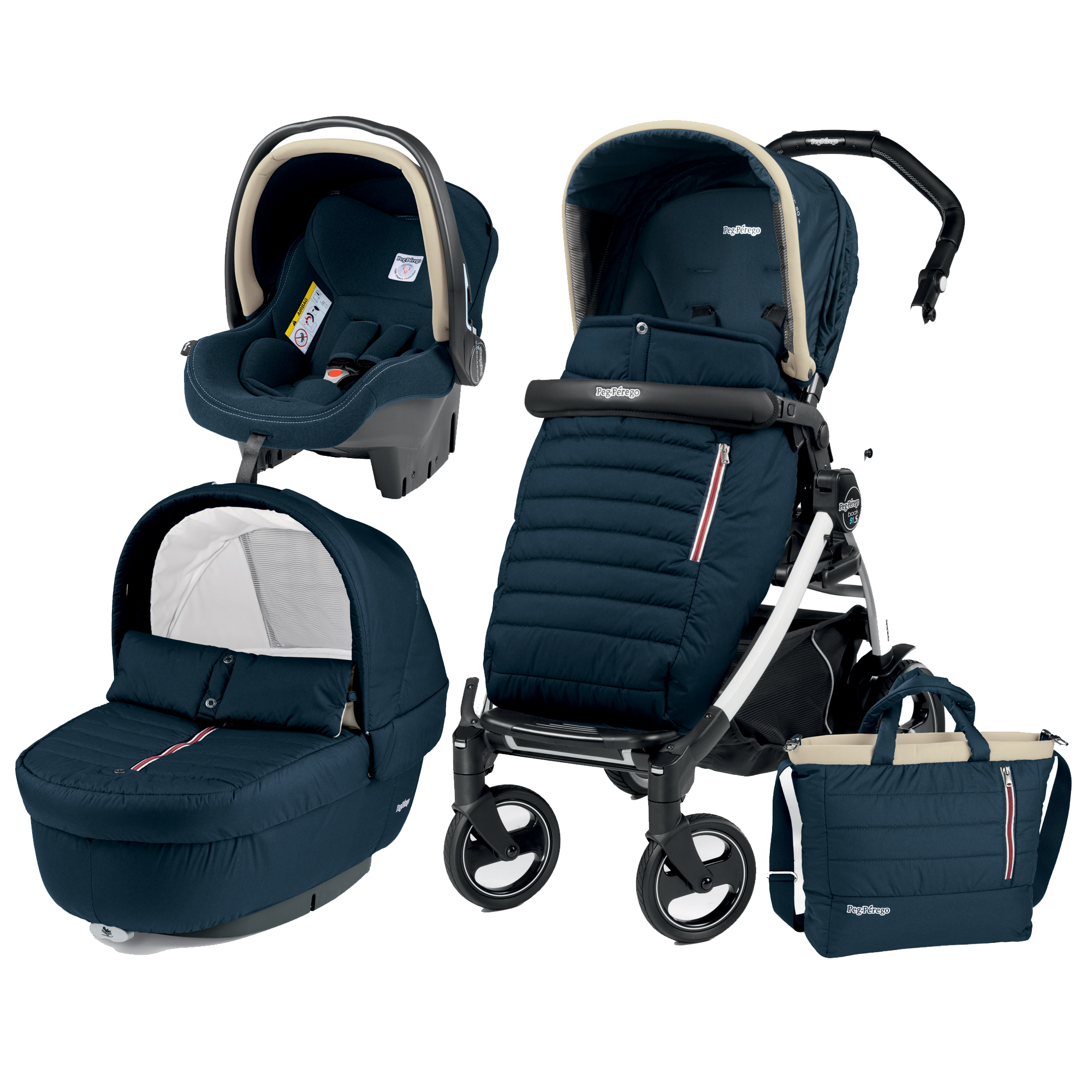 Carucior 3 in 1, Peg Perego, Book Plus 51 S, Black&White, Breeze