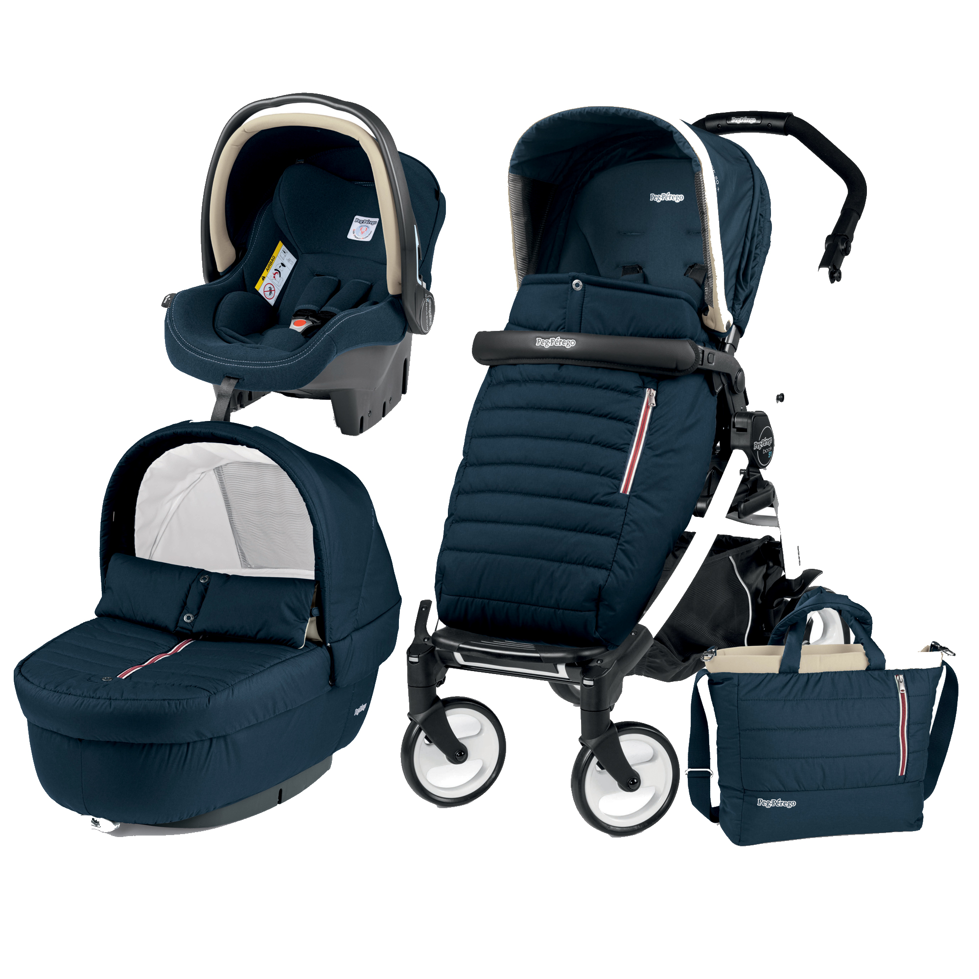 Carucior 3 In 1, Peg Perego, Book Plus 51, Black&White, Breeze