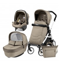 Carucior 3 In 1, Peg Perego, Book Plus 51, Black&White, Team, Cream-produs resigilat