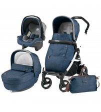 Carucior 3 In 1, Peg Perego, Book Plus S, Black&White, Completo Elite, Urban Denim