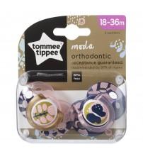 Suzeta Ortodontica Moda, Tommee Tippee, 2 buc, 18-36 luni, Fluture Roz