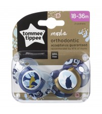 Suzeta Ortodontica Moda, Tommee Tippee, 2 buc, 18-36 luni, Pasare Albastra