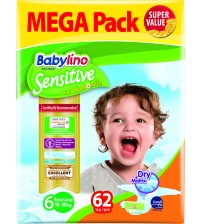 Scutece Babylino Sensitive Megapack Ex Large N6 15-30 kg/62 buc