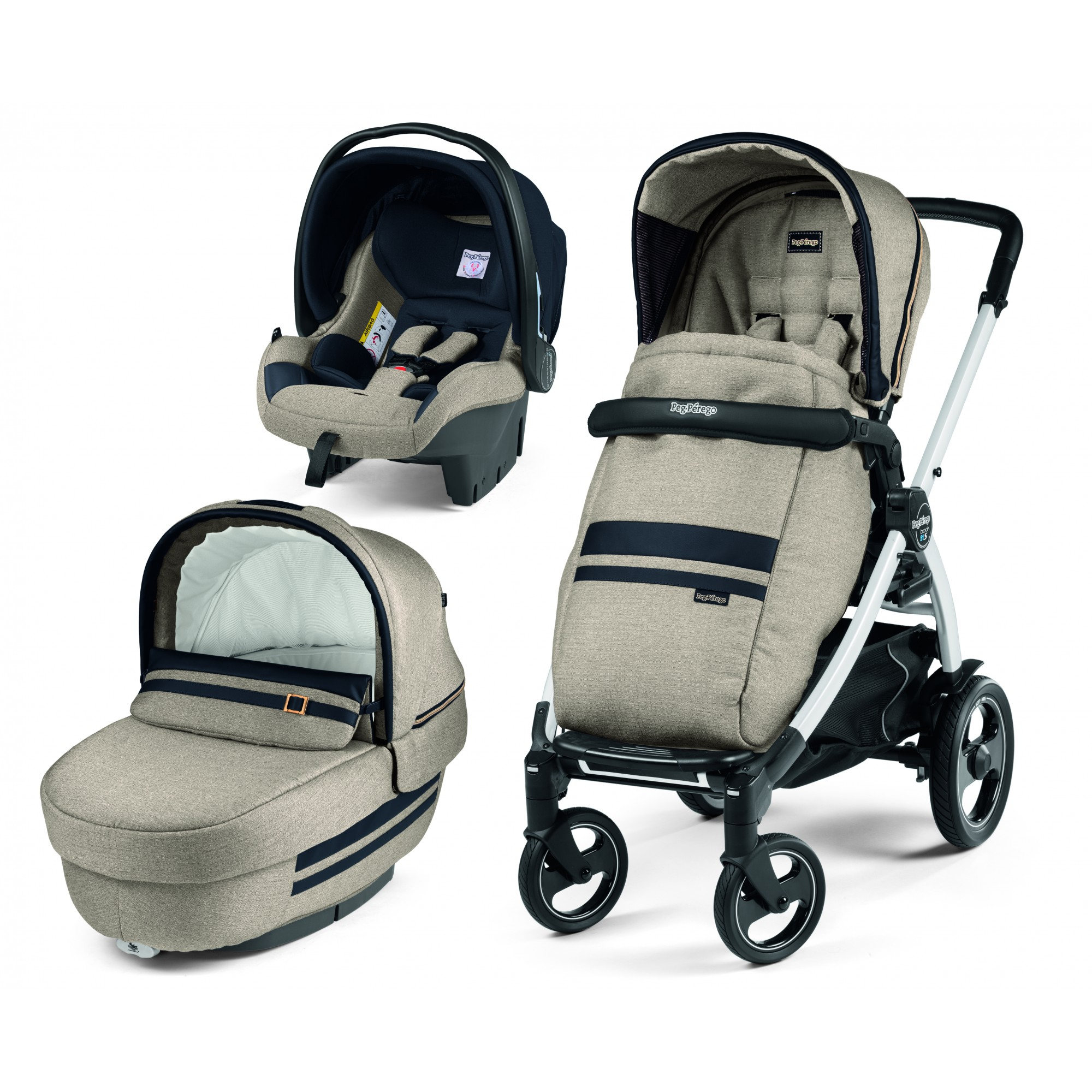 Carucior 3 In 1, Peg Perego, Book Plus 51 S, Titania White, Luxe Ecru