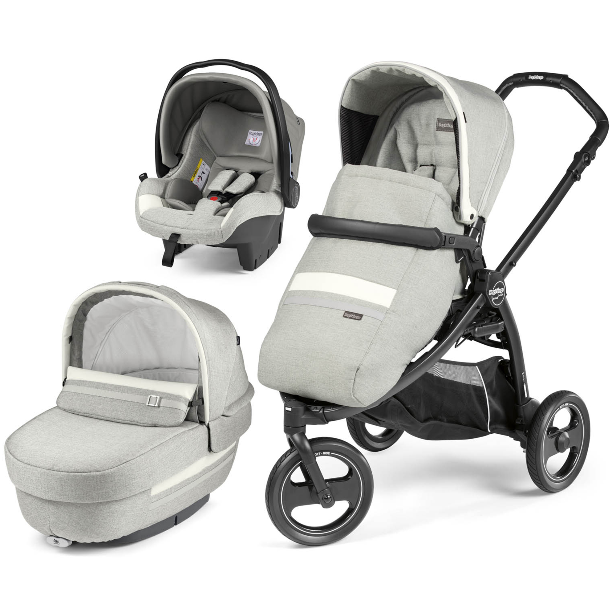 Carucior 3 in 1 Peg Perego Book Scout Matt Black Luxe Pure