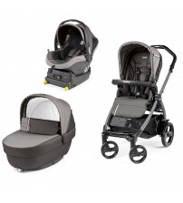 Carucior 3 in 1, Peg Perego, Book Plus 51 Titania, baza i-Size inclusa, Class Grey