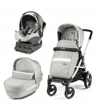 Carucior 3 In 1, Peg Perego, Book Plus 51 S, Titania White, baza i-Size inclusa, Luxe Pure