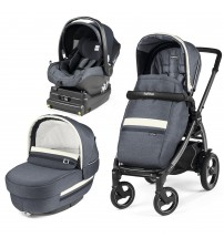 Carucior 3 In 1, Peg Perego, Book Plus 51 S, Titania, baza i-Size inclusa, Luxe Mirage