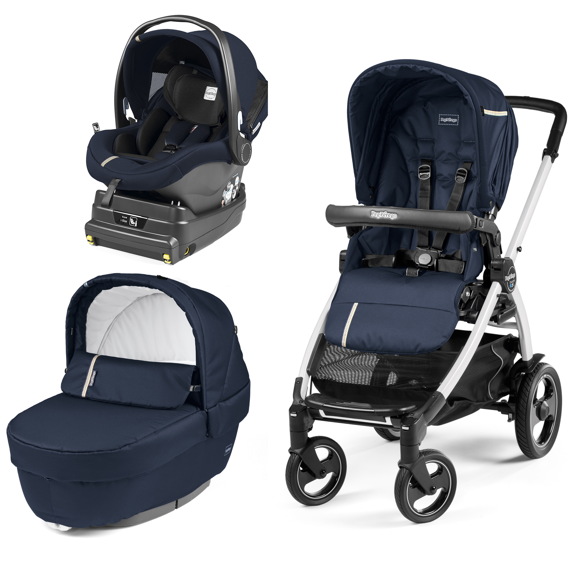 Carucior 3 In 1, Peg Perego, Book Plus 51 S, Titania White, baza i-Size inclusa, Class Navy