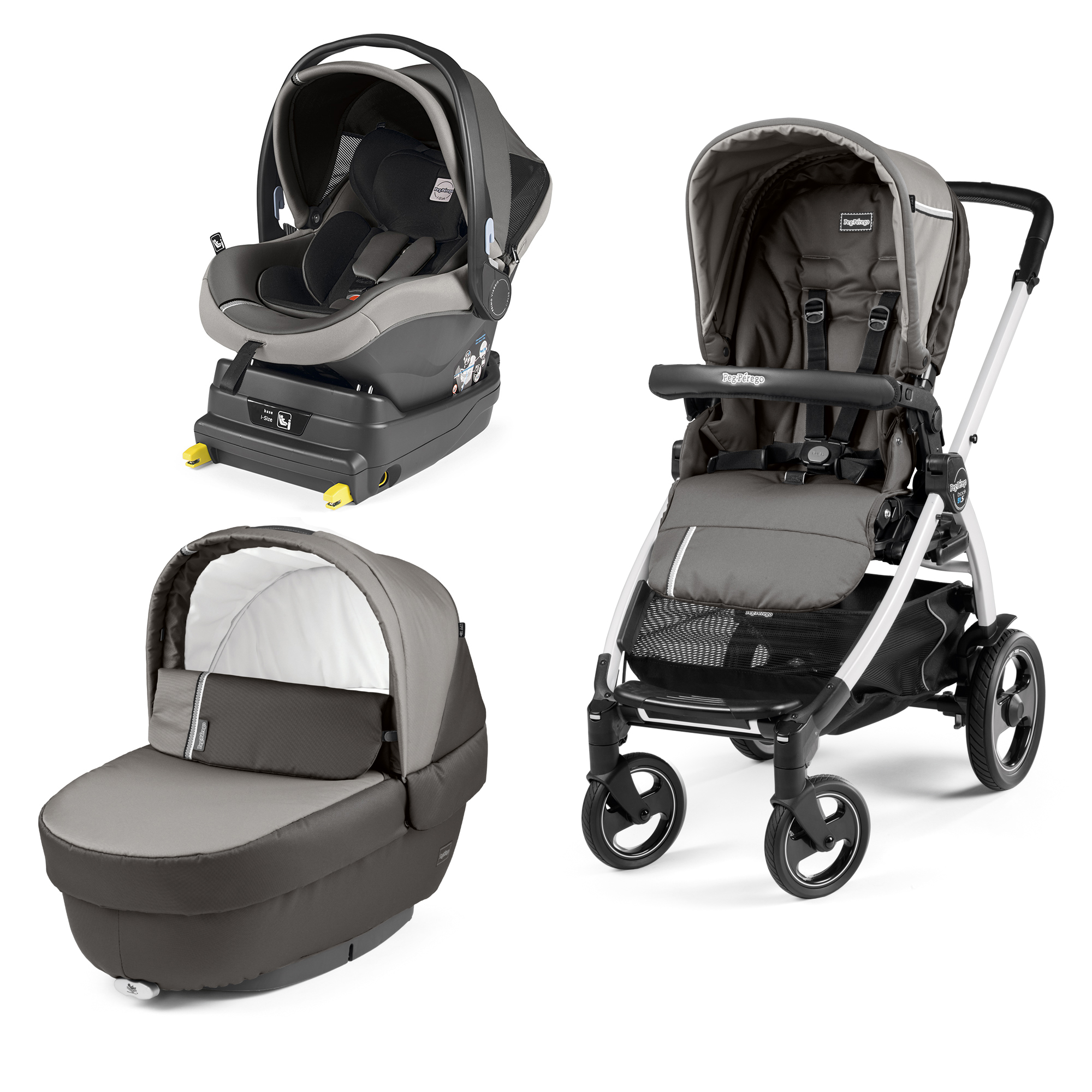 Carucior 3 In 1, Peg Perego, Book Plus 51 S, Titania White, baza i-Size inclusa, Class Grey