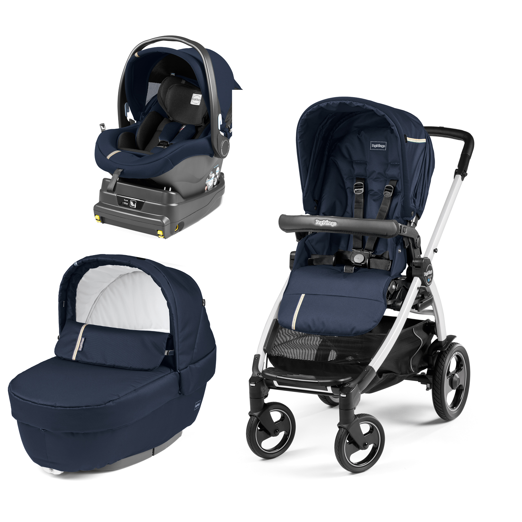 Carucior 3 In 1, Peg Perego, Book Plus 51 S, Titania, baza i-Size inclusa, Class Navy
