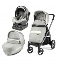 Carucior 3 In 1, Peg Perego, Book Plus S, Titania, baza i-Size inclusa, Luxe Pure