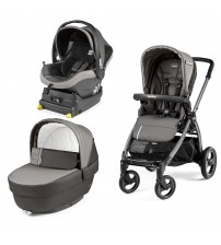 Carucior 3 In 1, Peg Perego, Book Plus S, Titania, baza i-Size inclusa, Class Grey