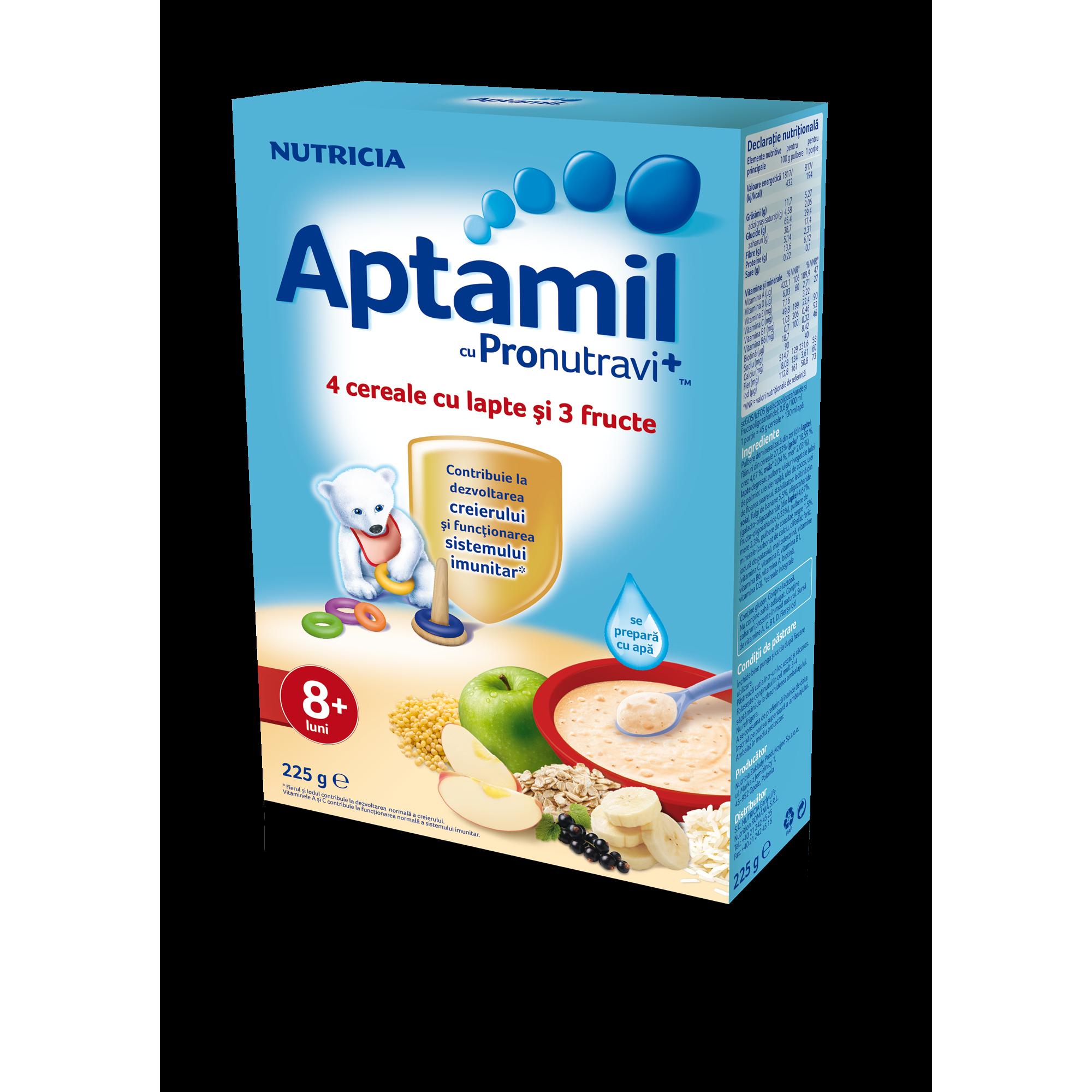 Cereale cu lapte Nutricia, Aptamil, 4 cereale si 3 fructe, 225g, 8luni+