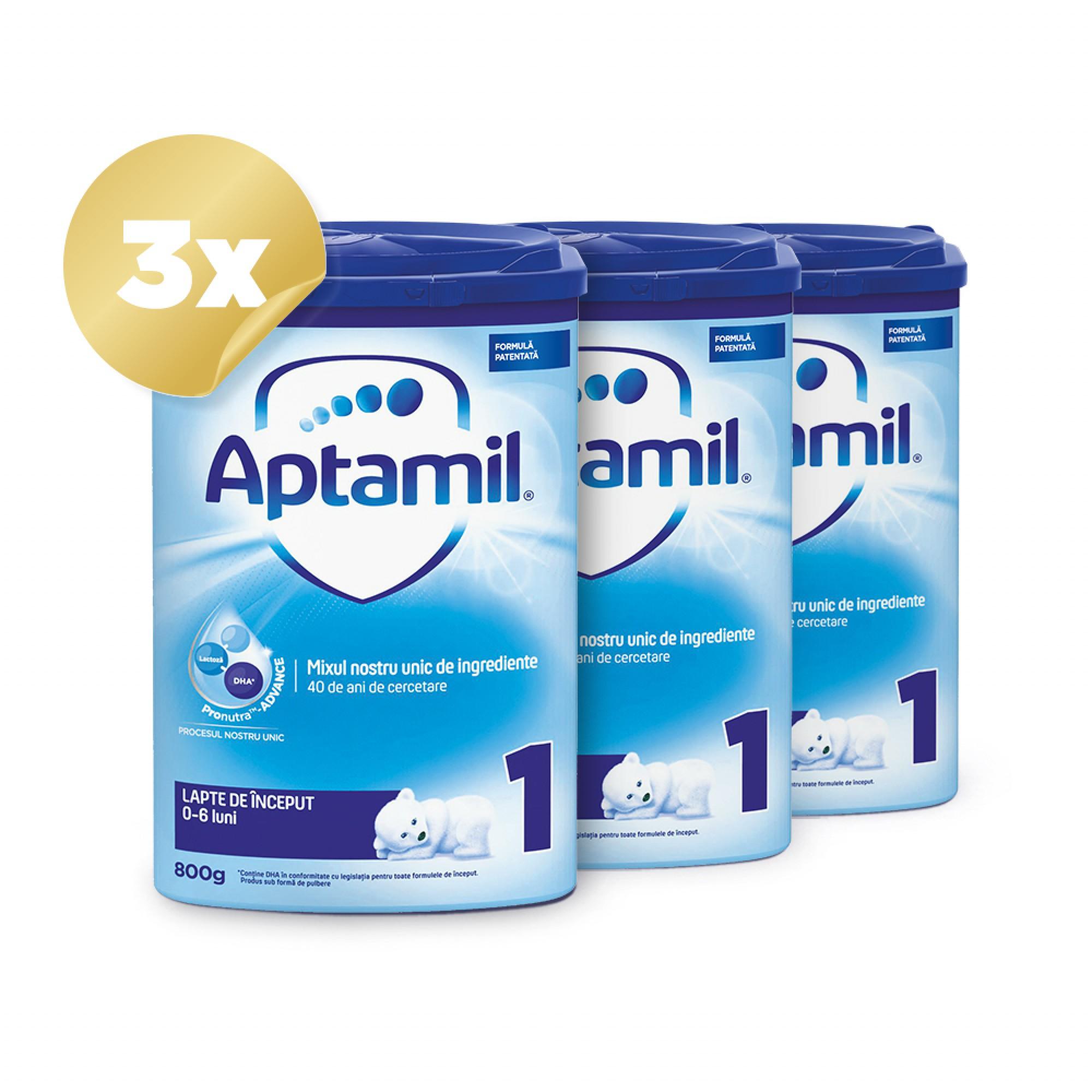 Trio Pack Aptamil 1, 800g, 0luni+