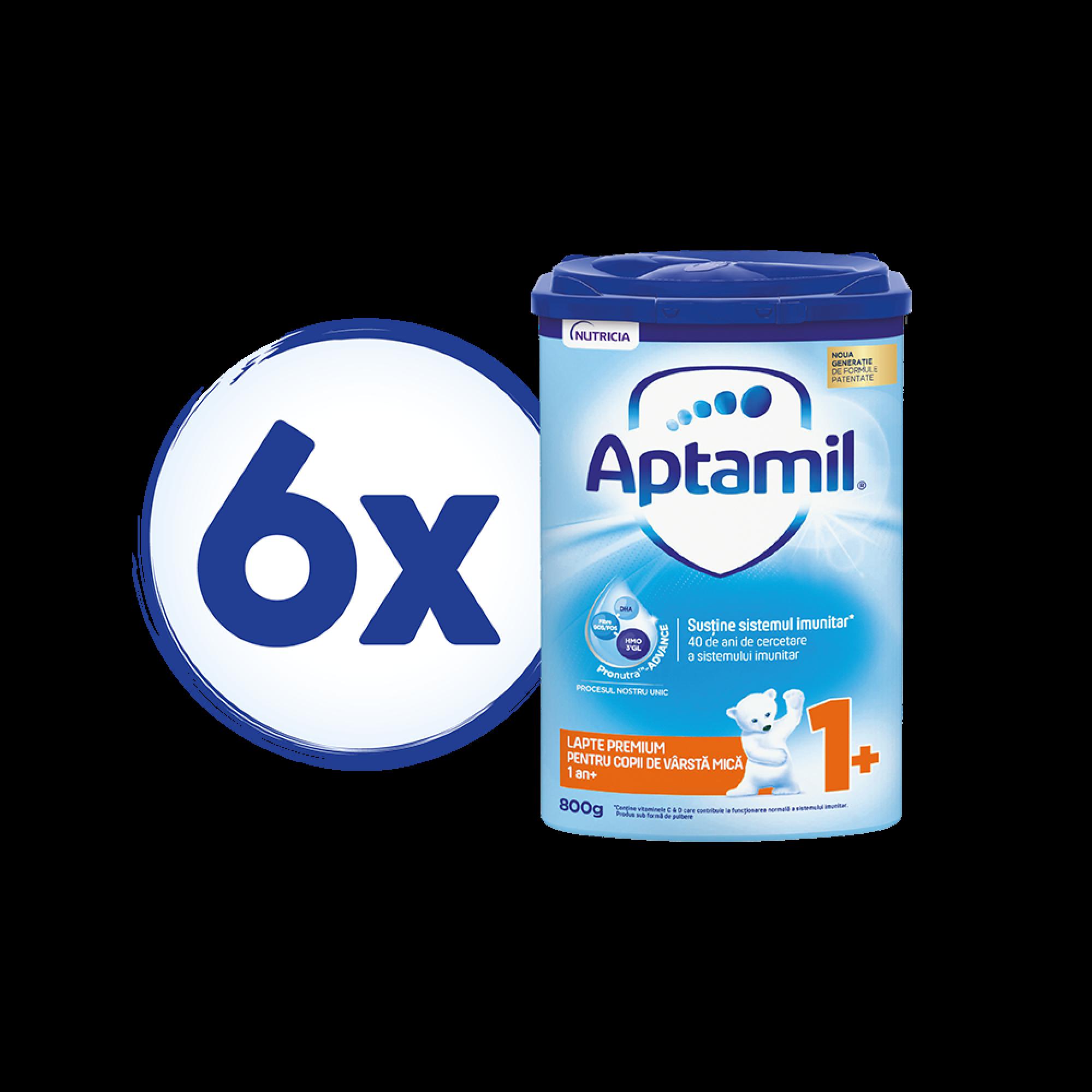Pachet 6 x Lapte praf Aptamil Junior 1+, 800 gr