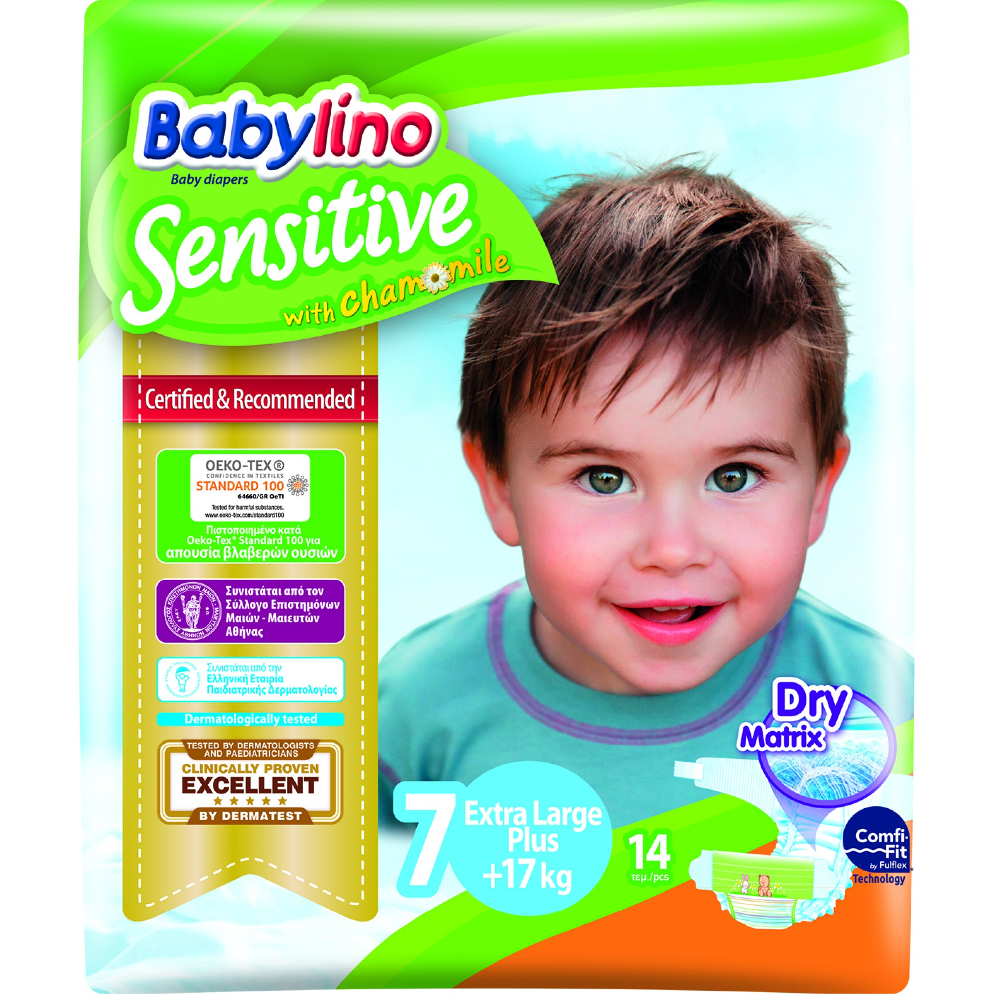 Scutece Babylino Sensitive 7, 17+ kg, 14 buc