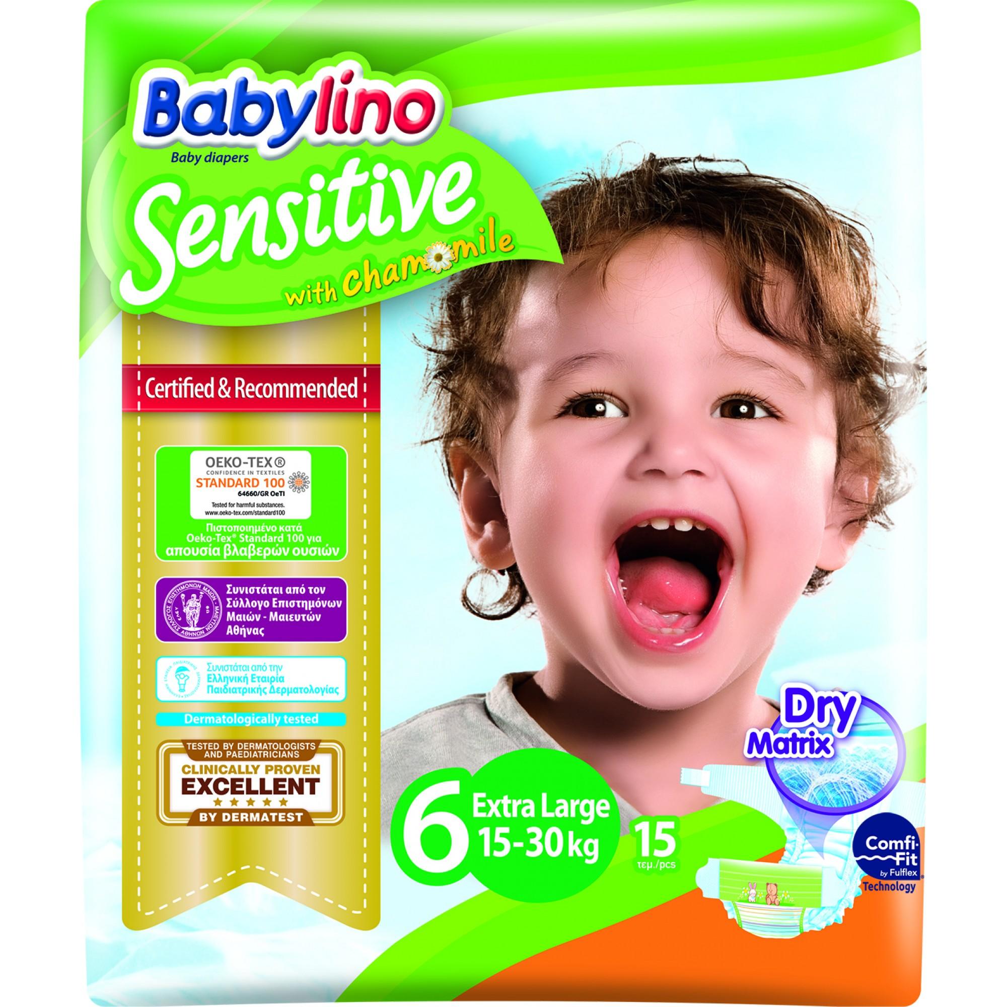Scutece Babylino Sensitive N6 15-30kg/15 buc