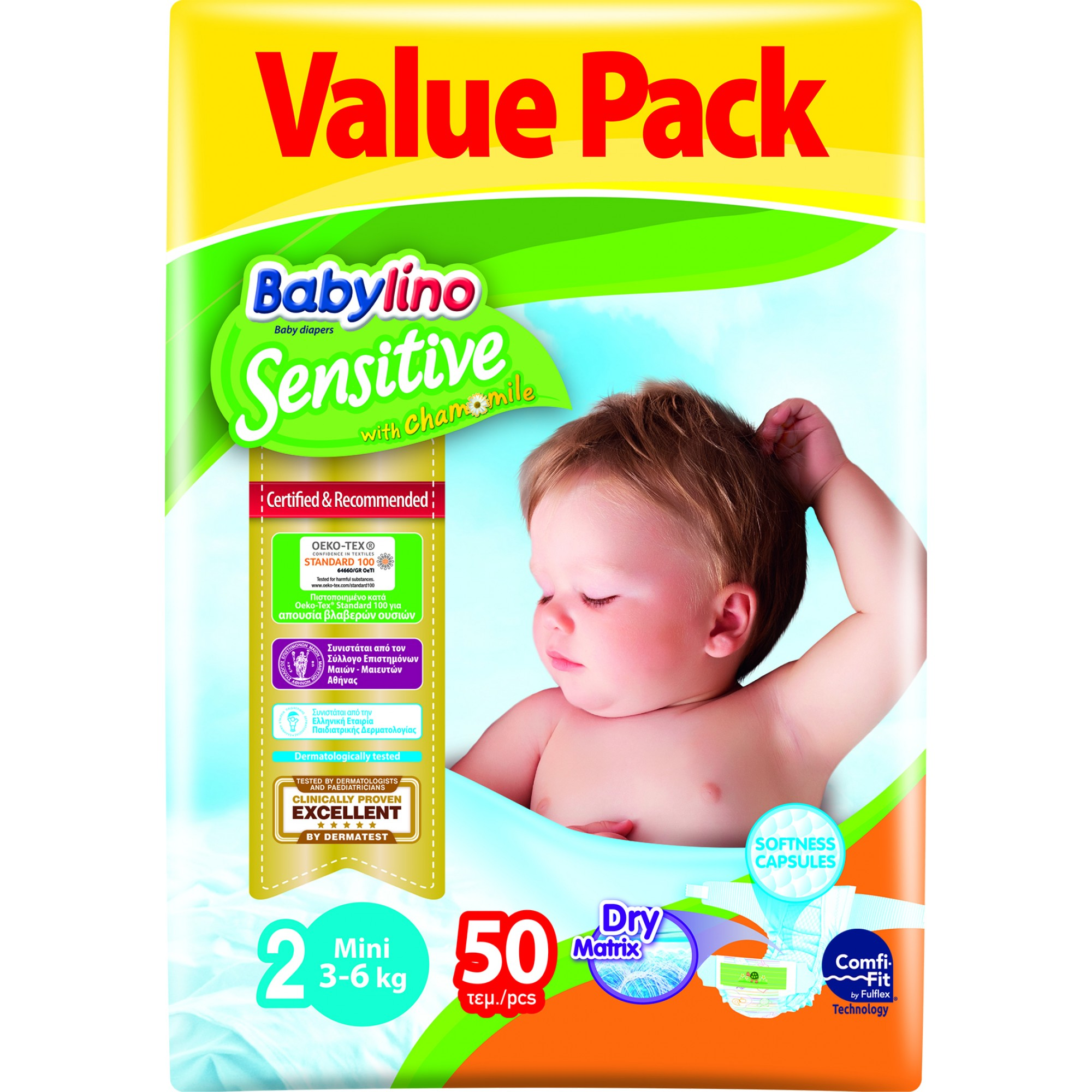 Scutece Babylino Sensitive Economy N2 3-6kg/50 buc